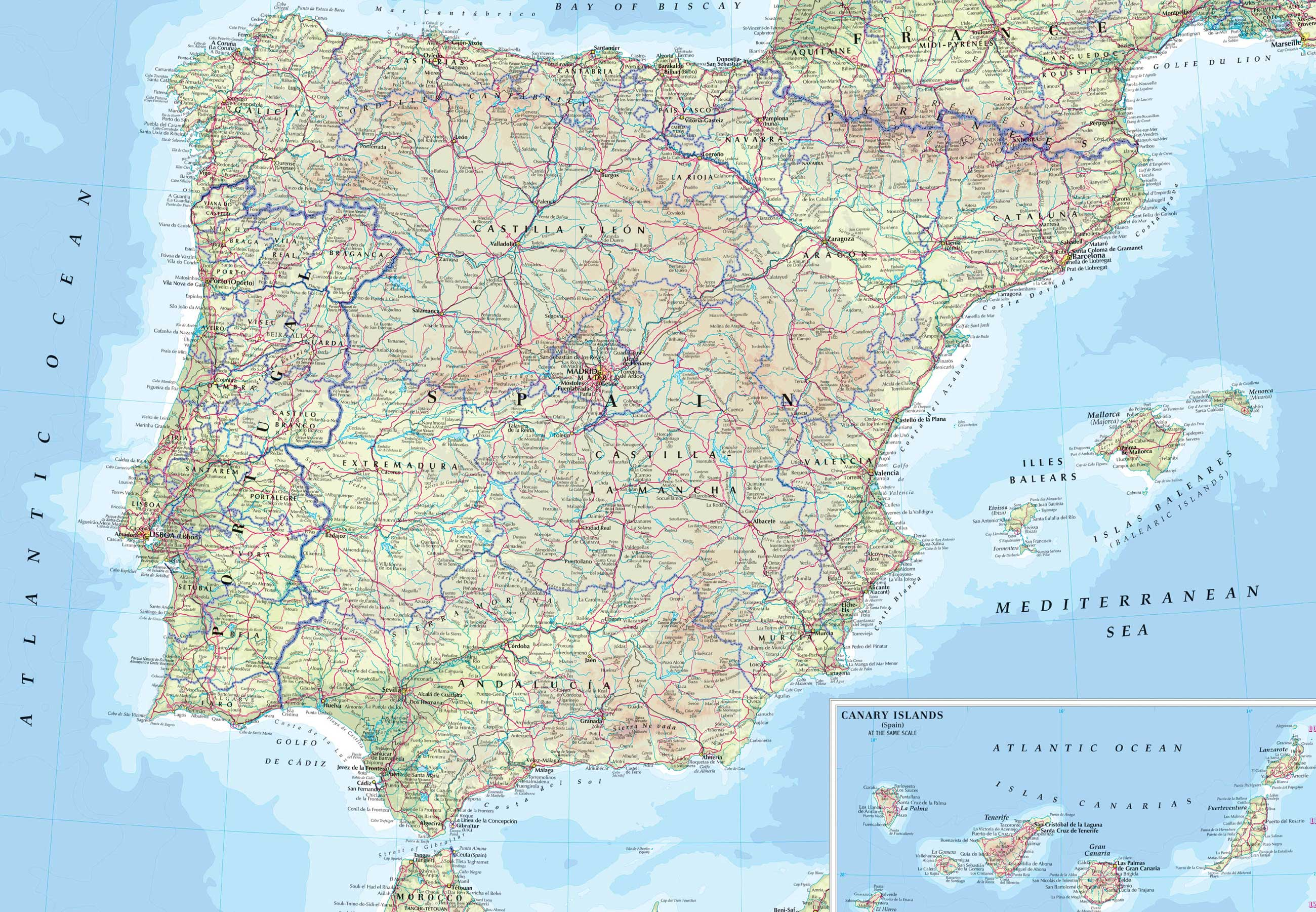 Spain Road Map large map