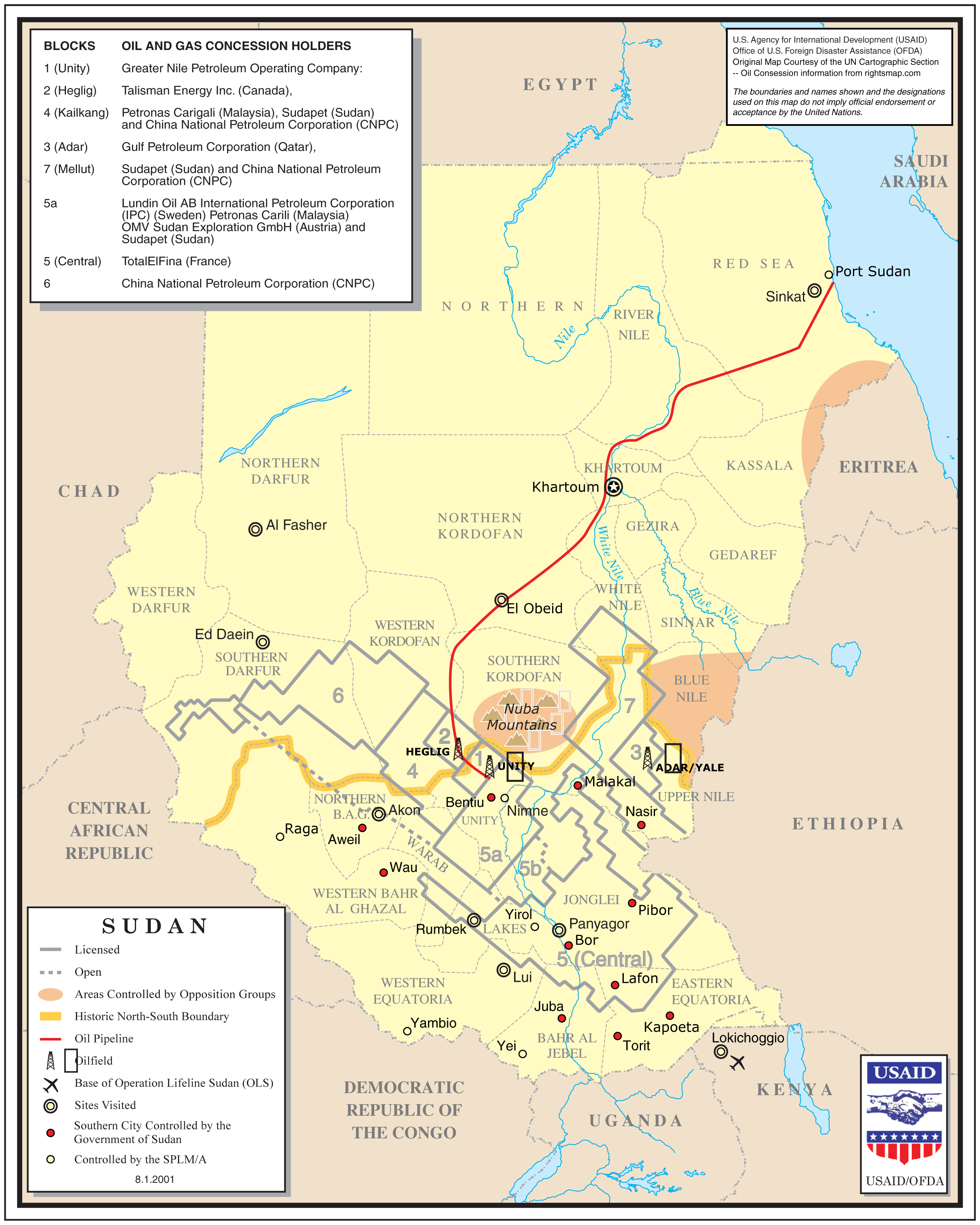 Sudan Oil And Gas Concession Holders large map