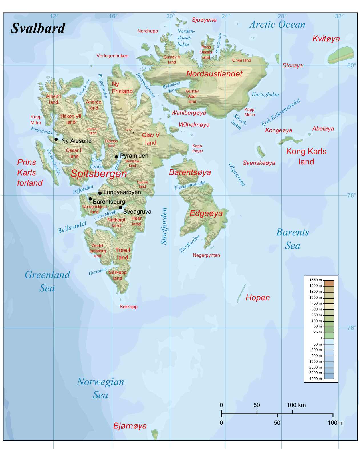 Svalbard Topographic Map large map