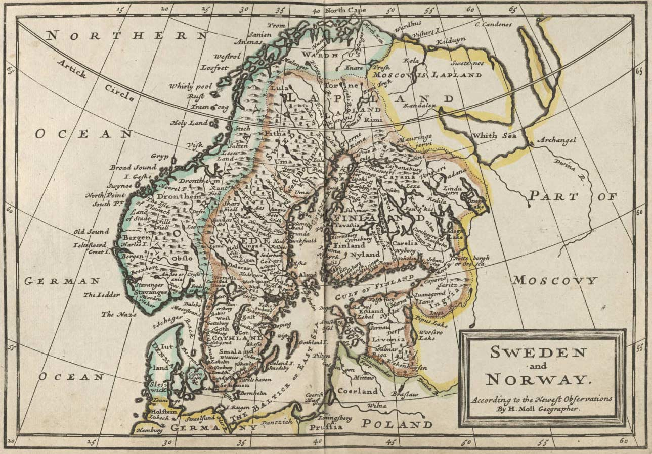 Sweden And Norway Historical Map large map