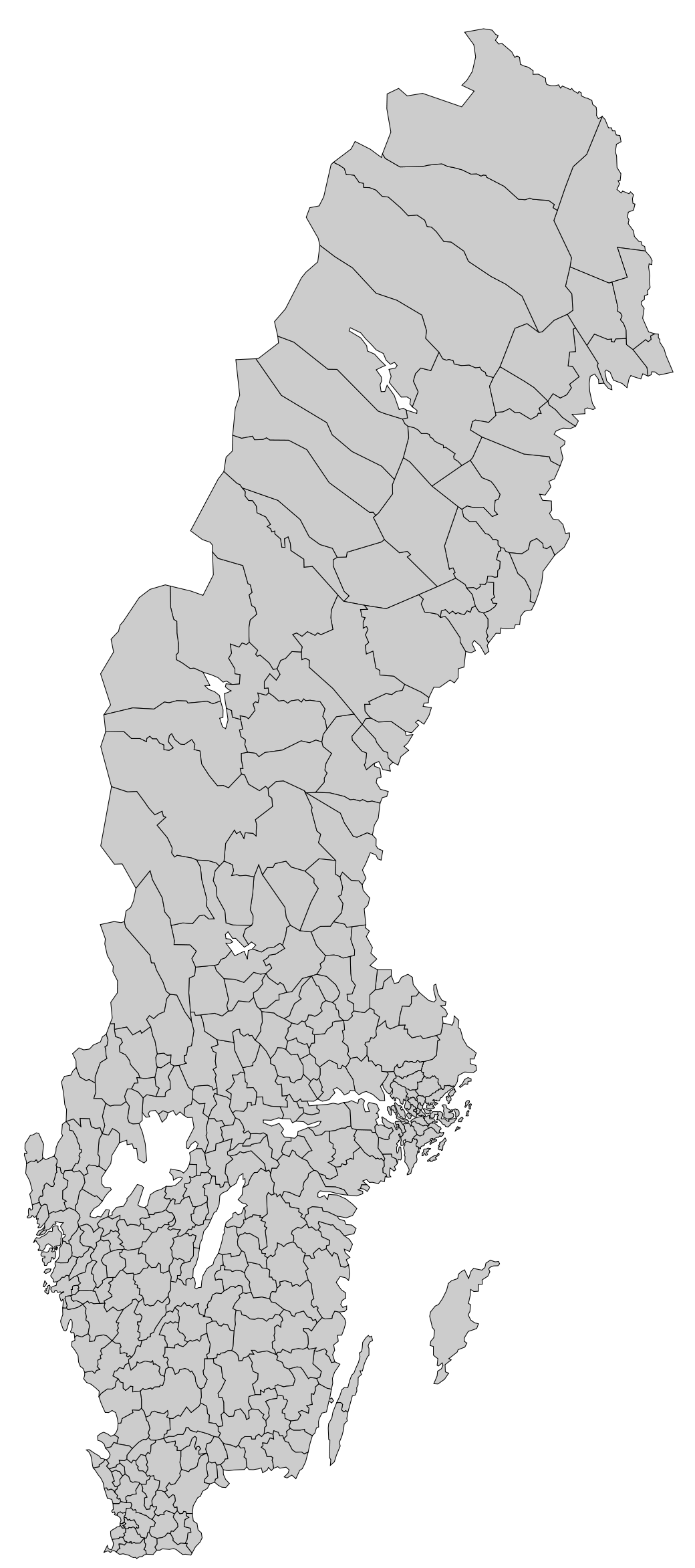 Sweden Blank Map With Municipal Borders Mapsofnet - Sweden map blank
