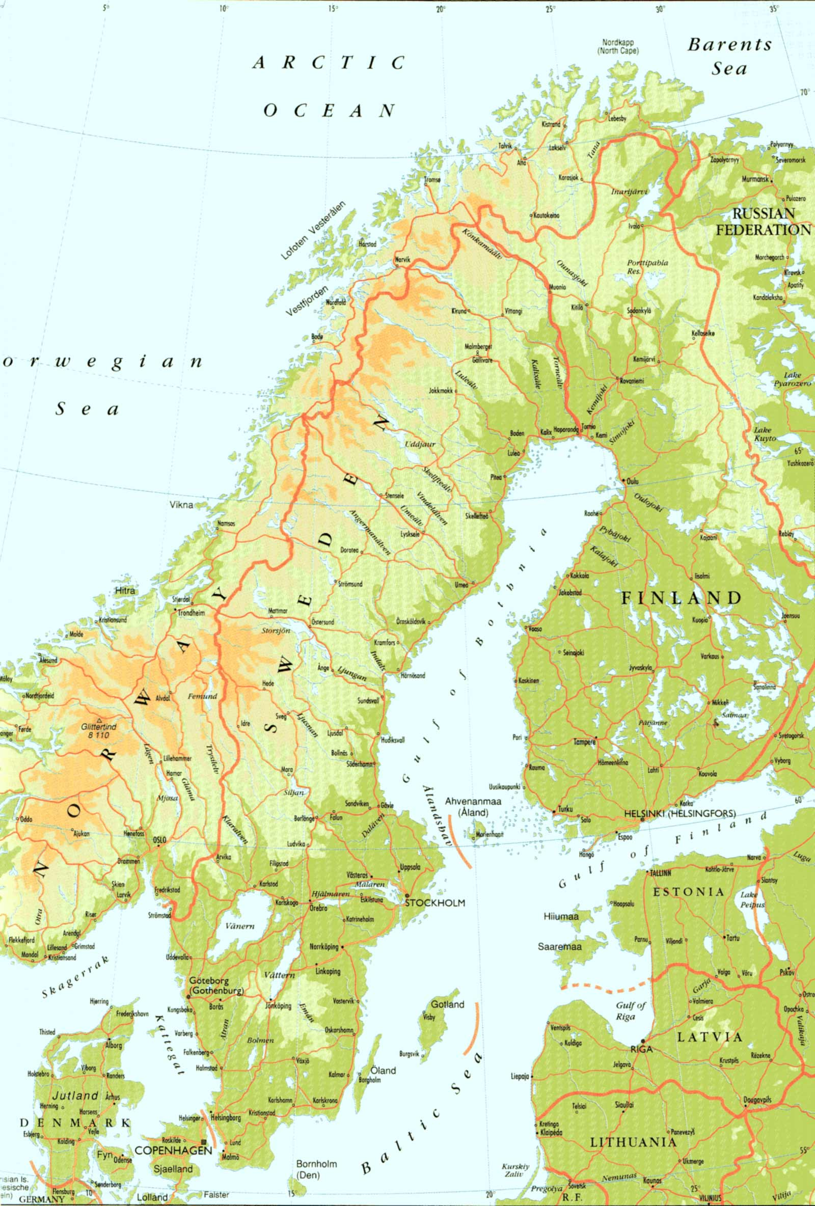 Sweden Physical Map 1 large map