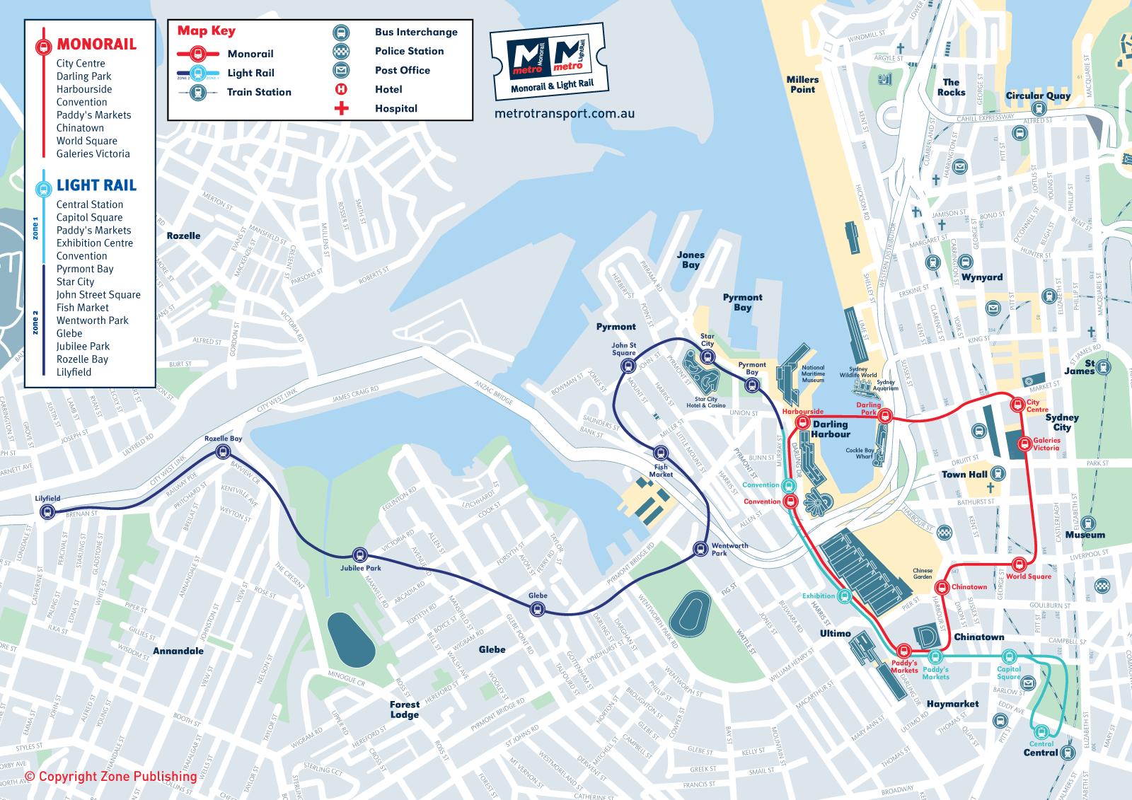 Sydney Metro Map Monorail Light Rail Mapsof Net