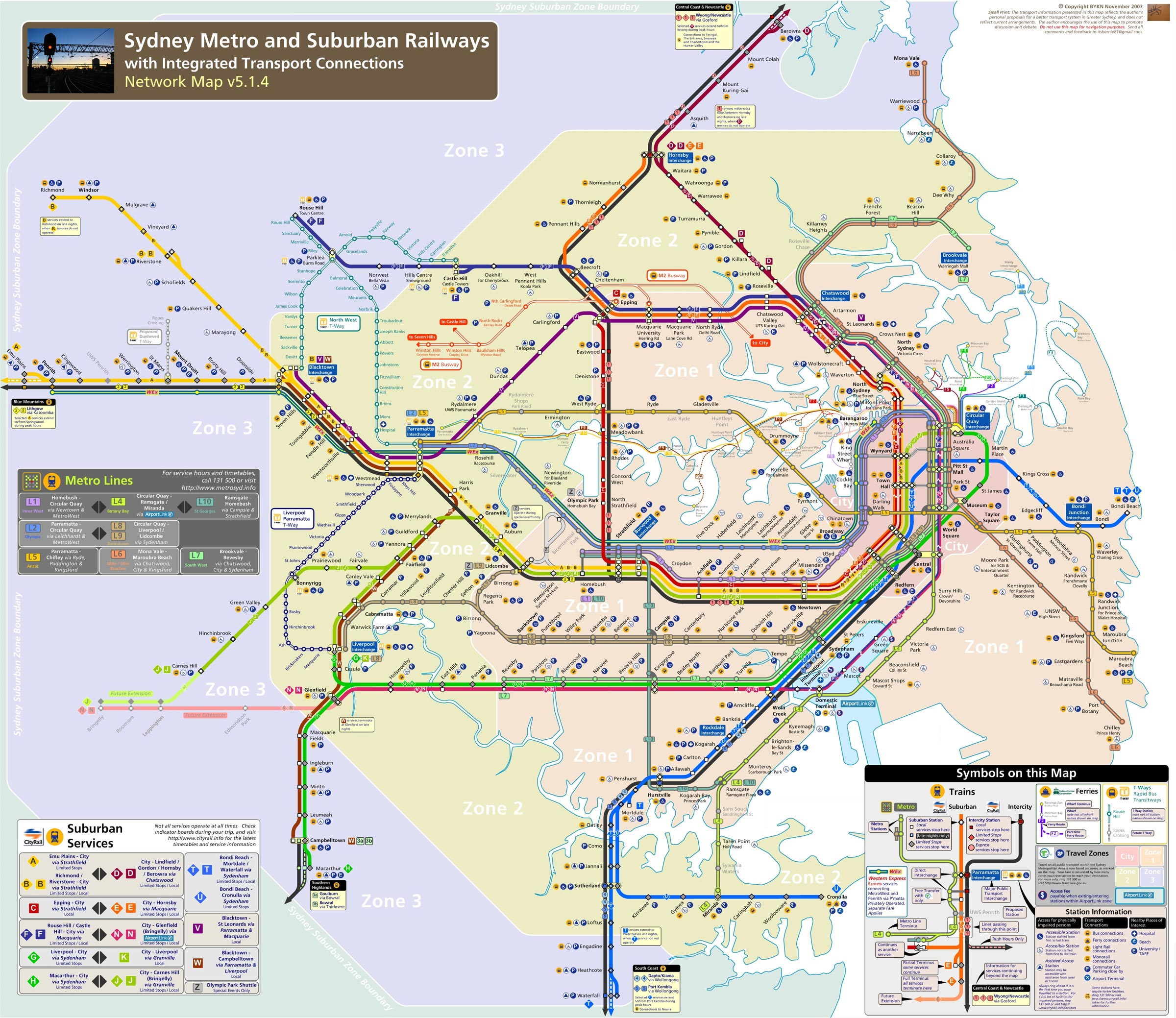 Sydney Metro Map (subway) large map