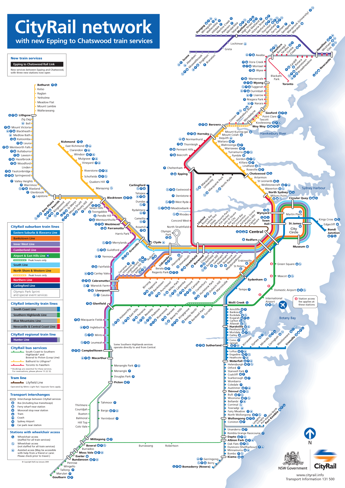 Sydney Metro System Map (rail System) large map