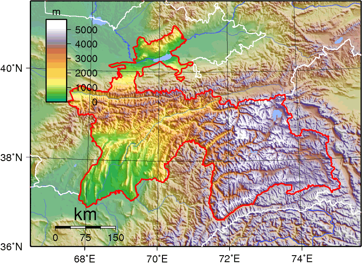 Tajikistan Topography large map