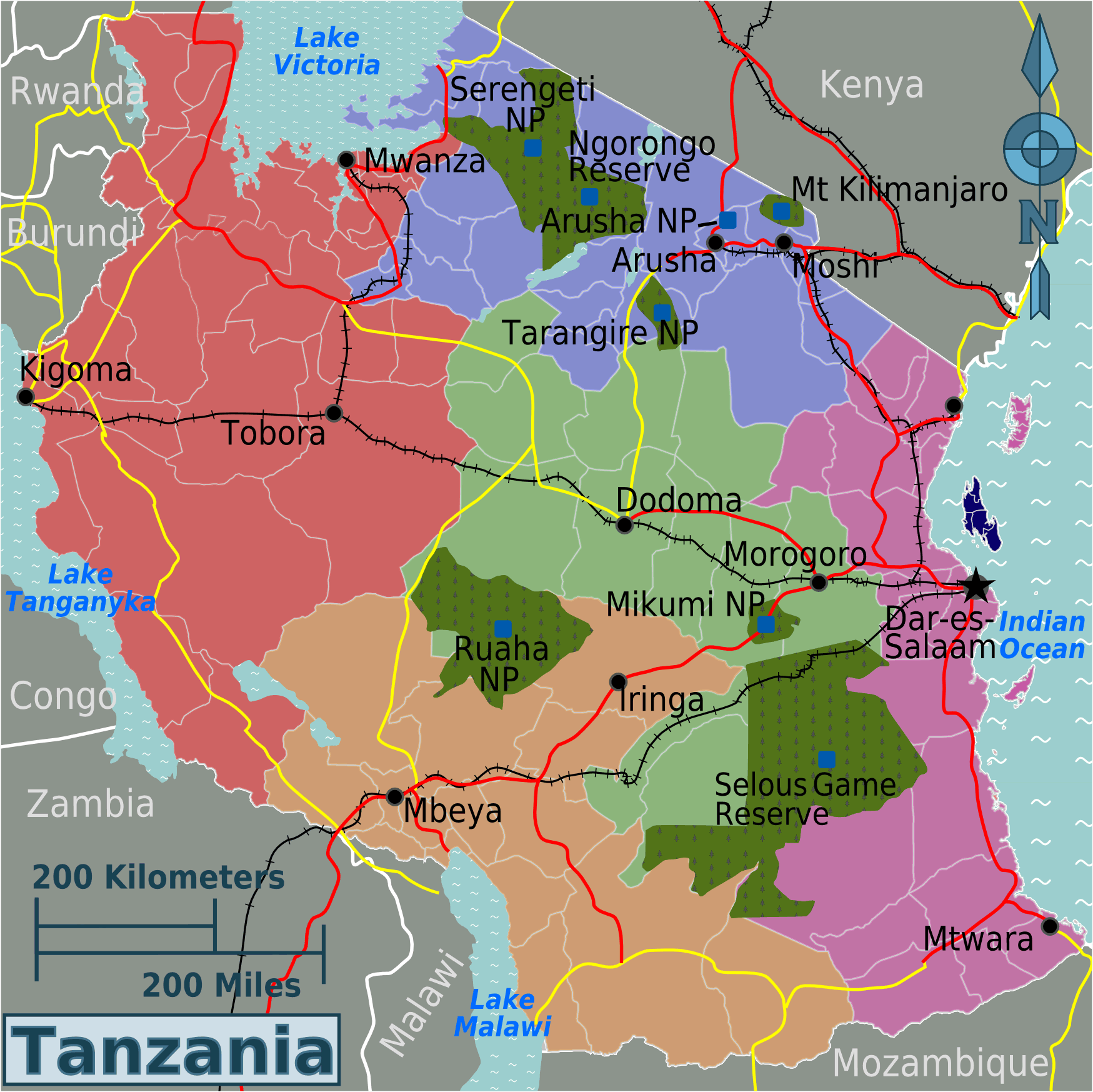 Tanzania Regions Map large map