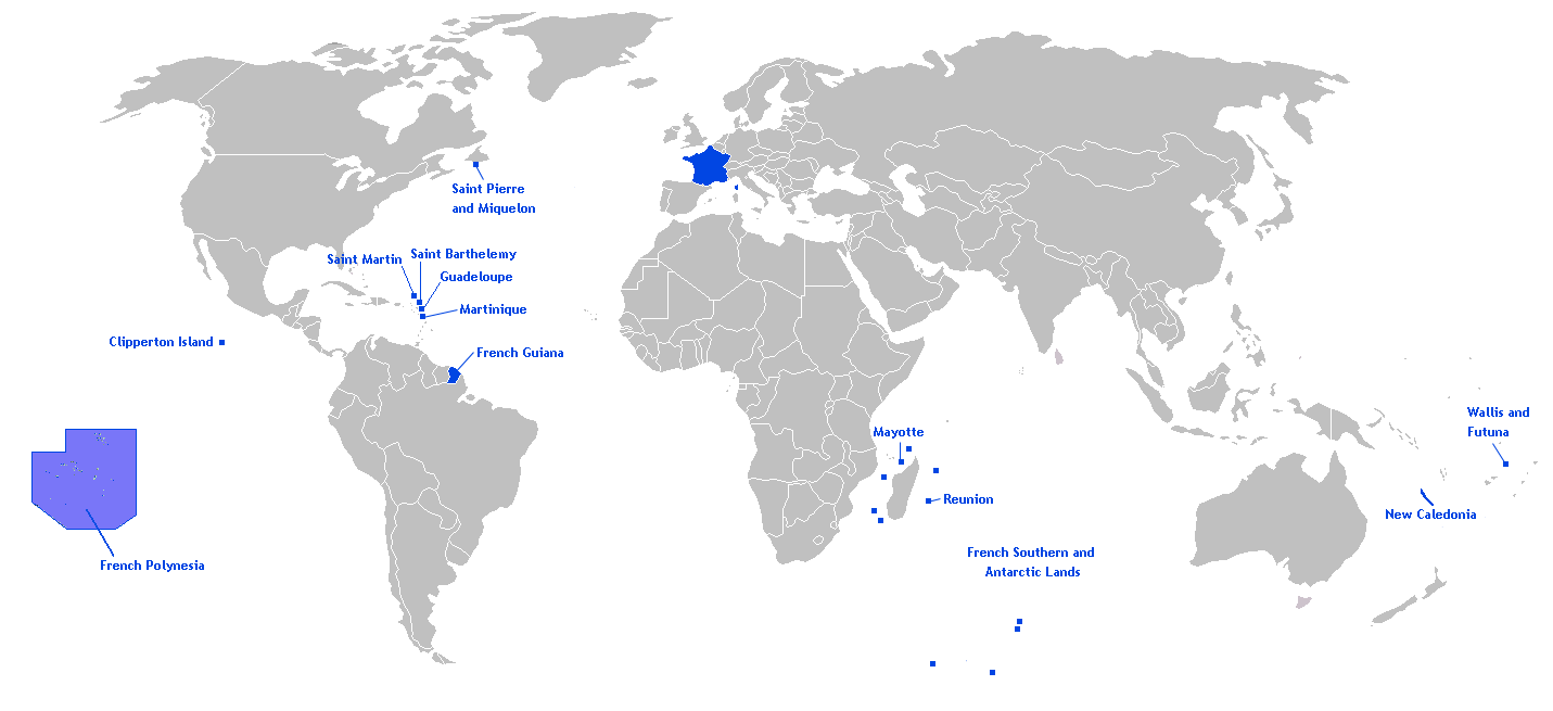 Territories Of The French Republic In The World Mapsof Net