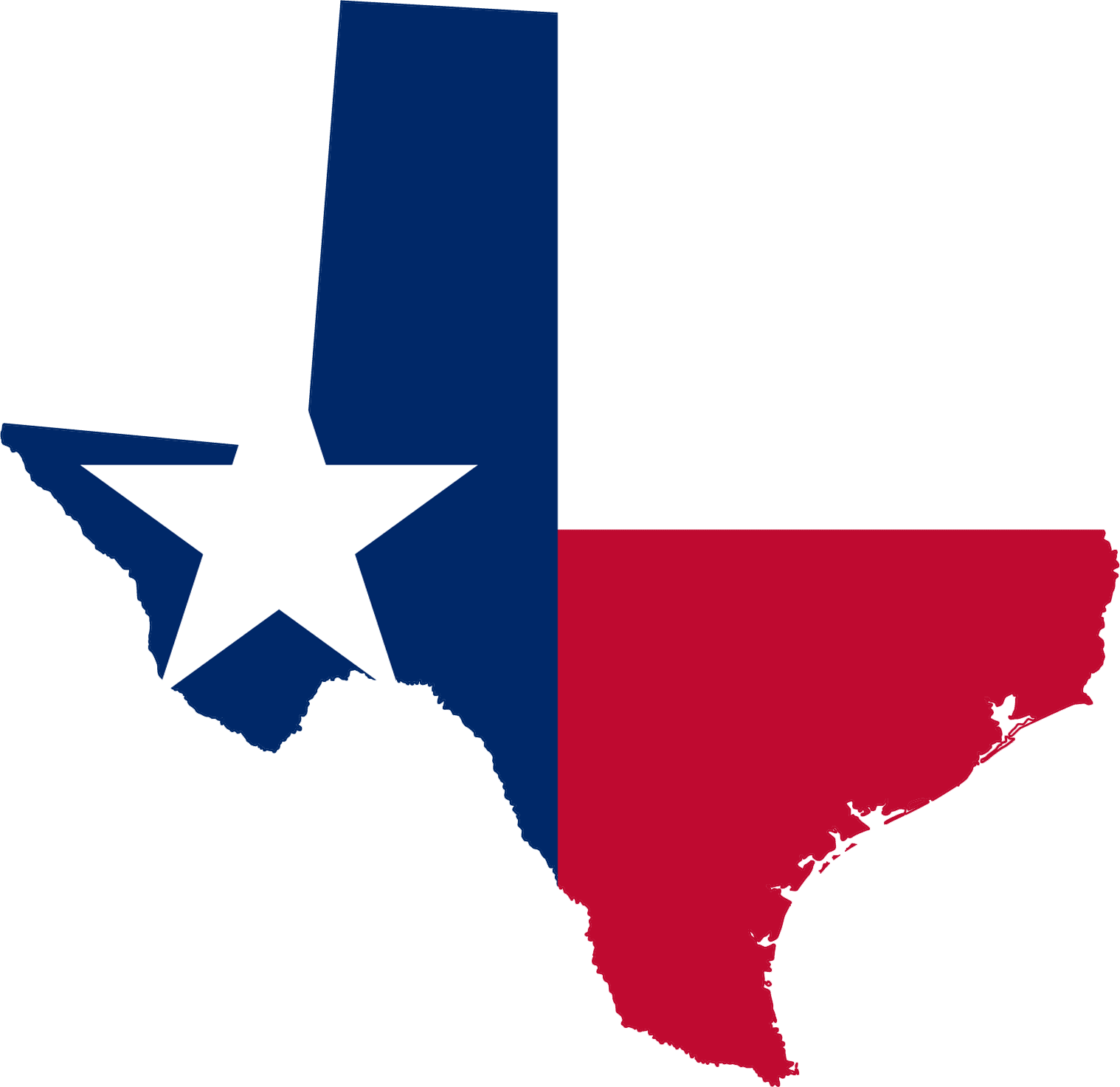 Texas Flag Map large map
