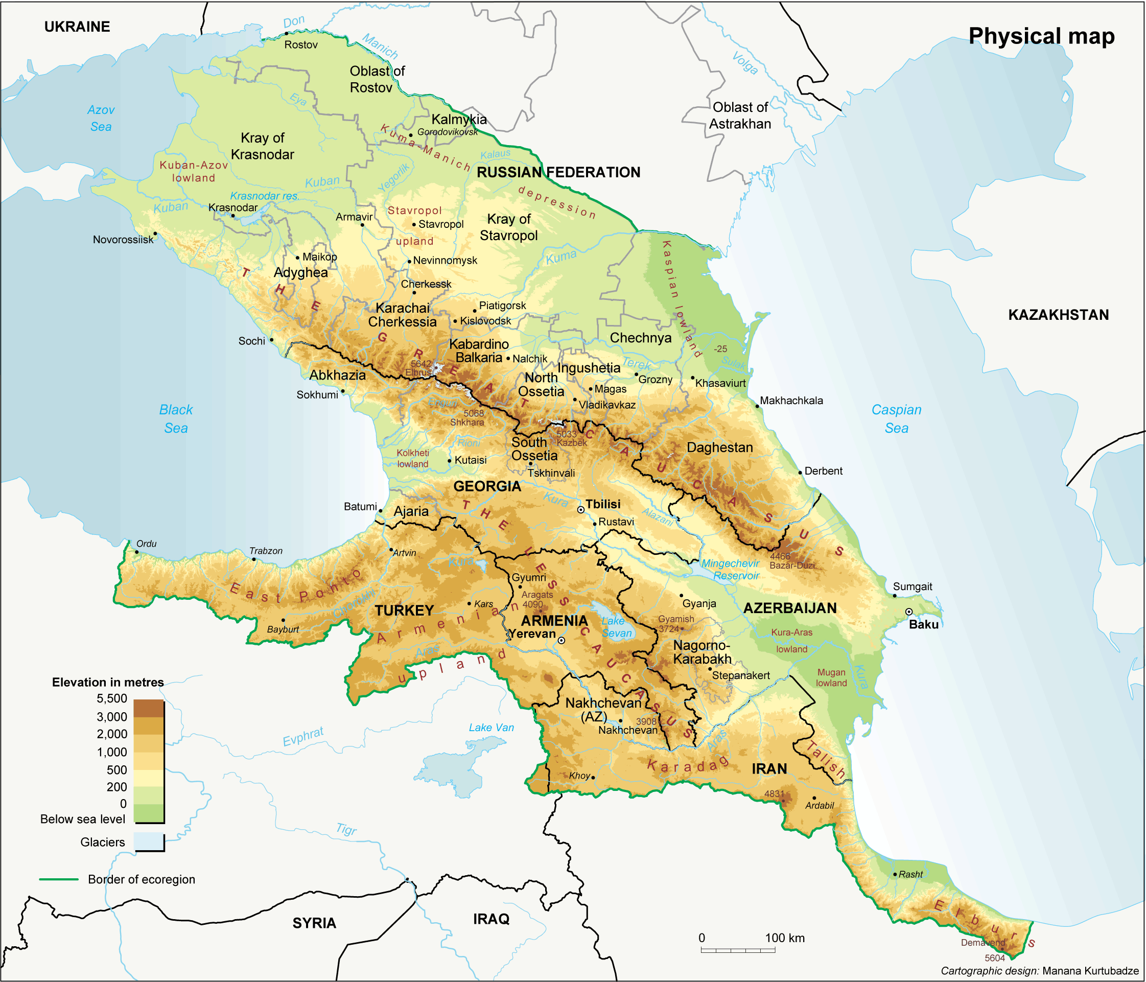 The Caucasus Physical large map