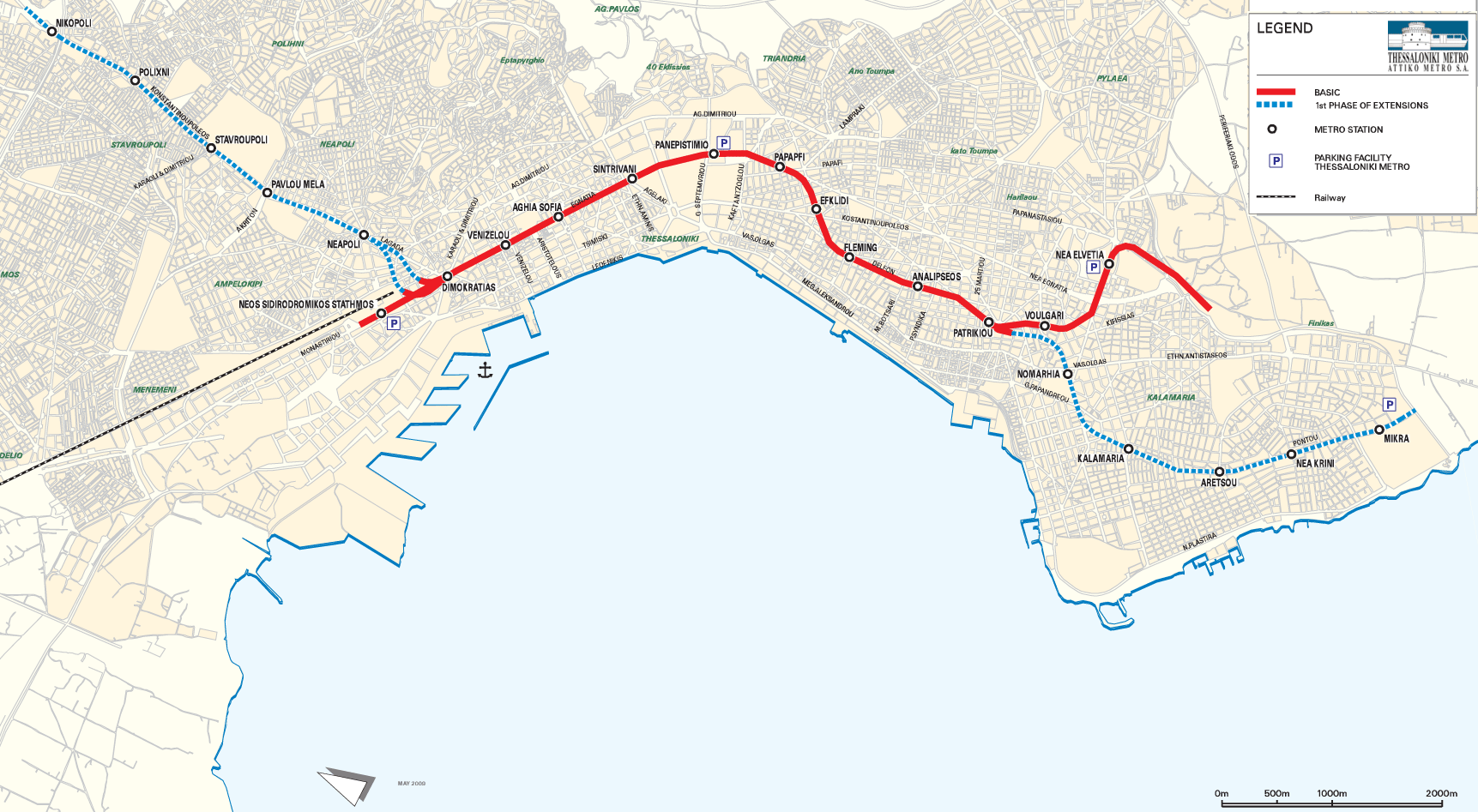 Thessaloniki Metro Map Mapsofnet