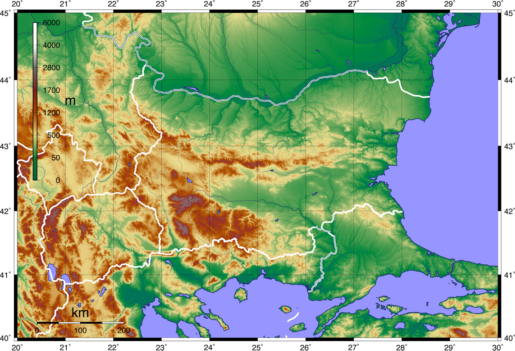 Topographic Map of Bulgaria large map