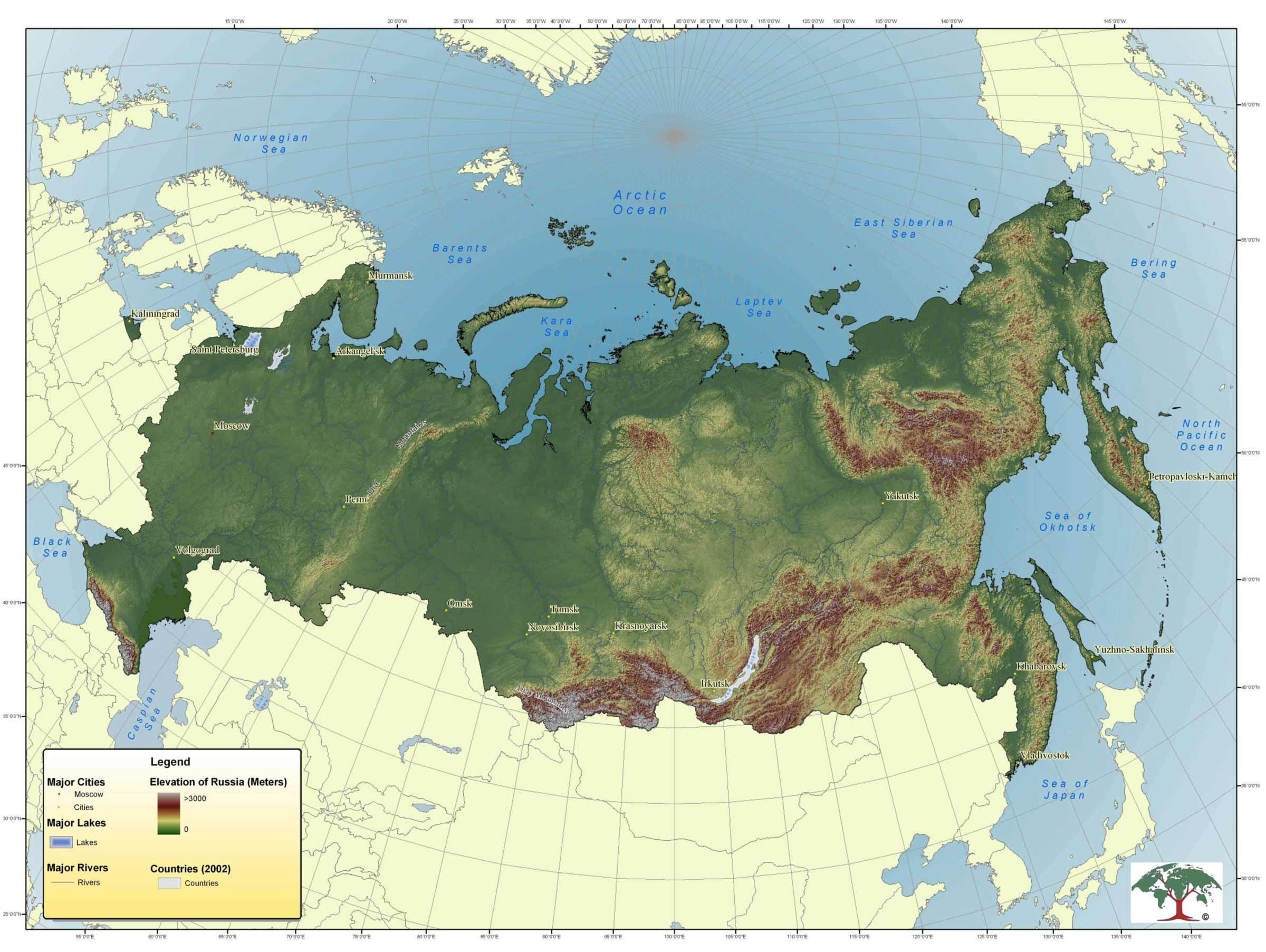 Topographic Map of Russia large map