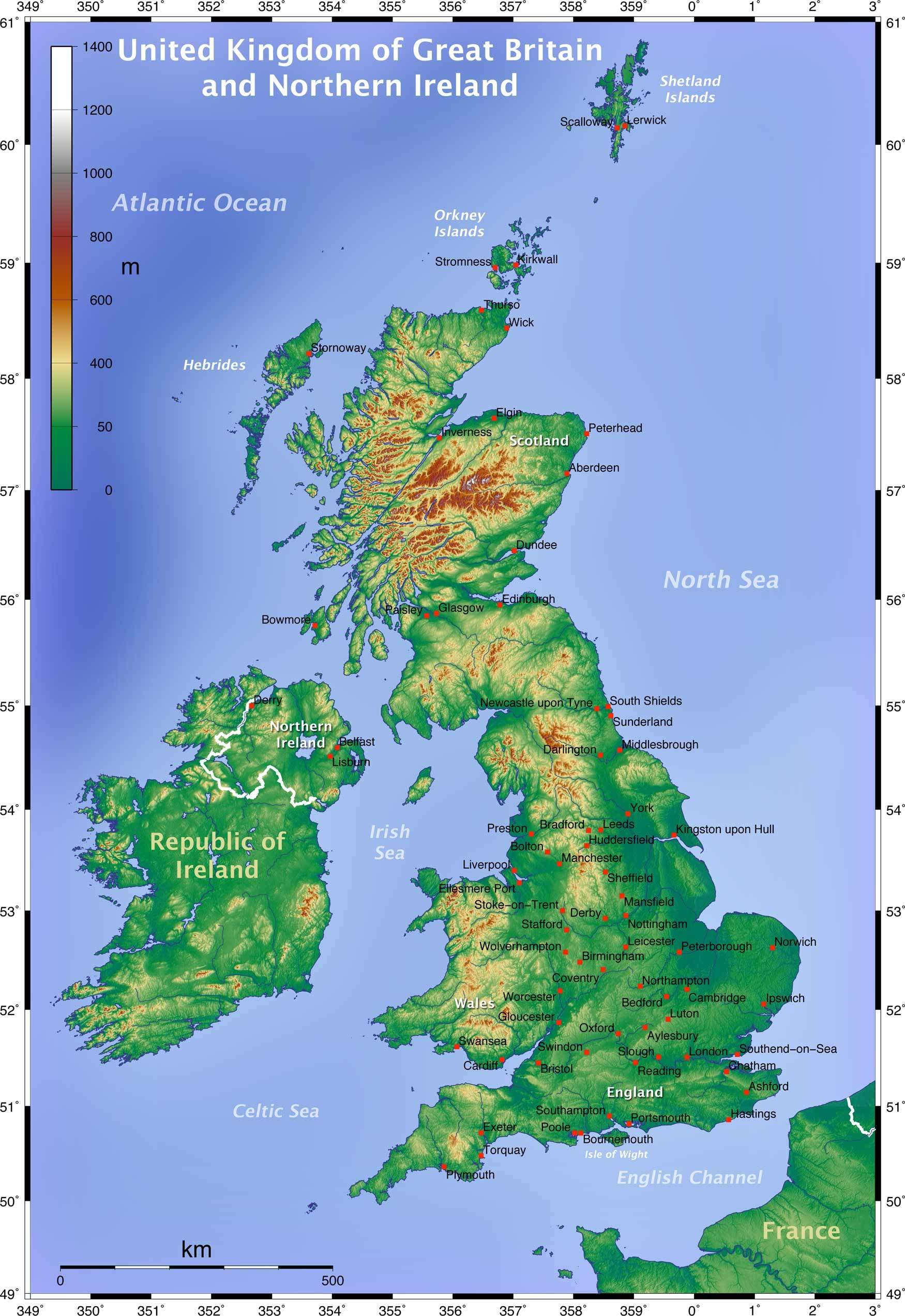Topographic Map of the Uk large map