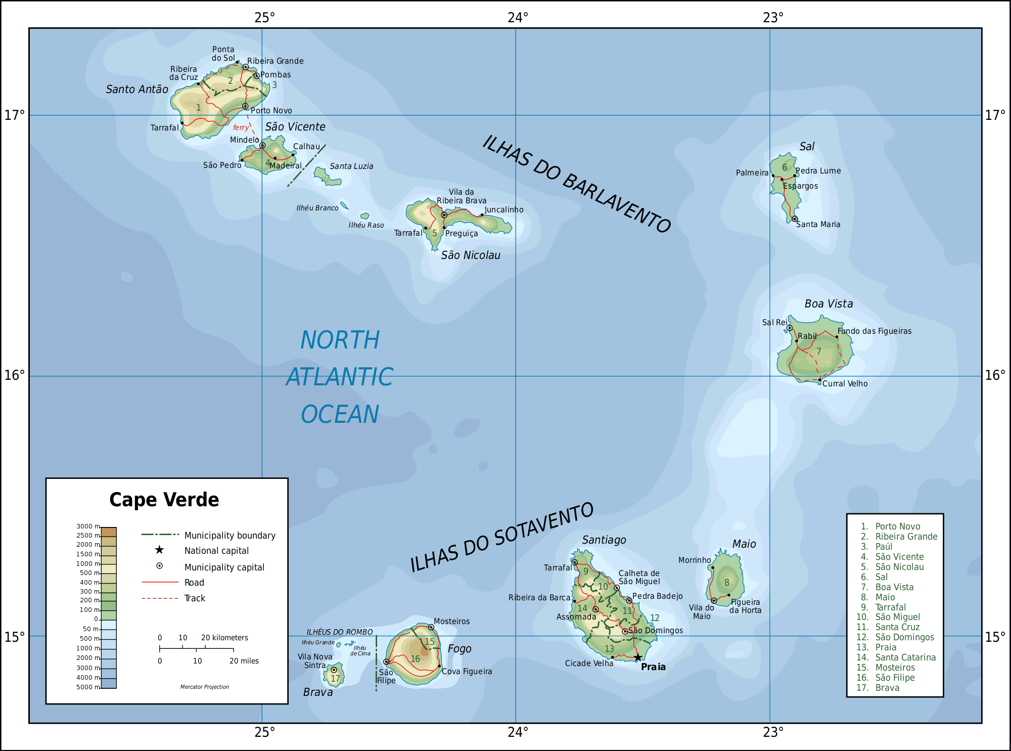 Topographic Map of Cape Verde large map