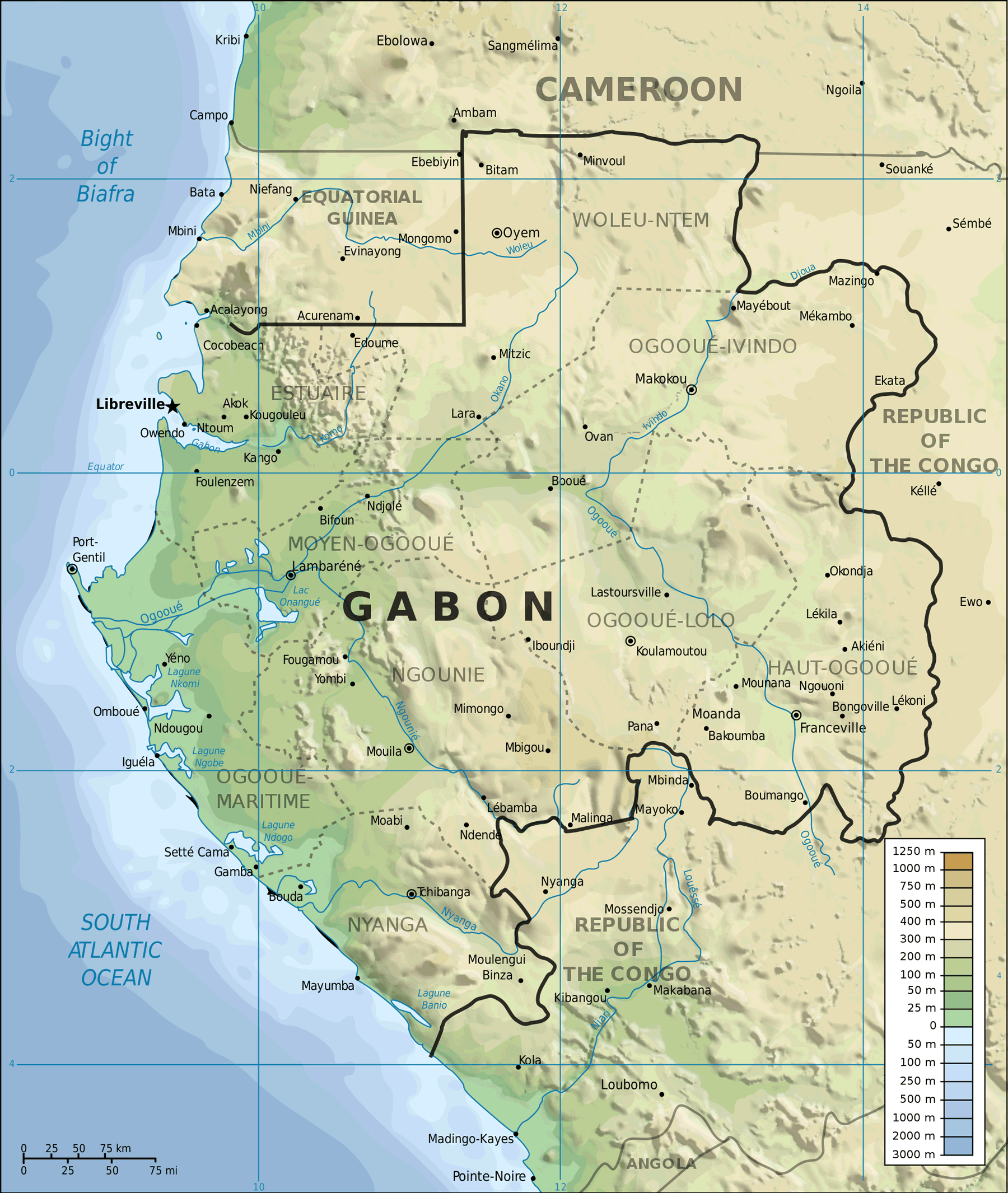 Topographic Map of Gabon large map