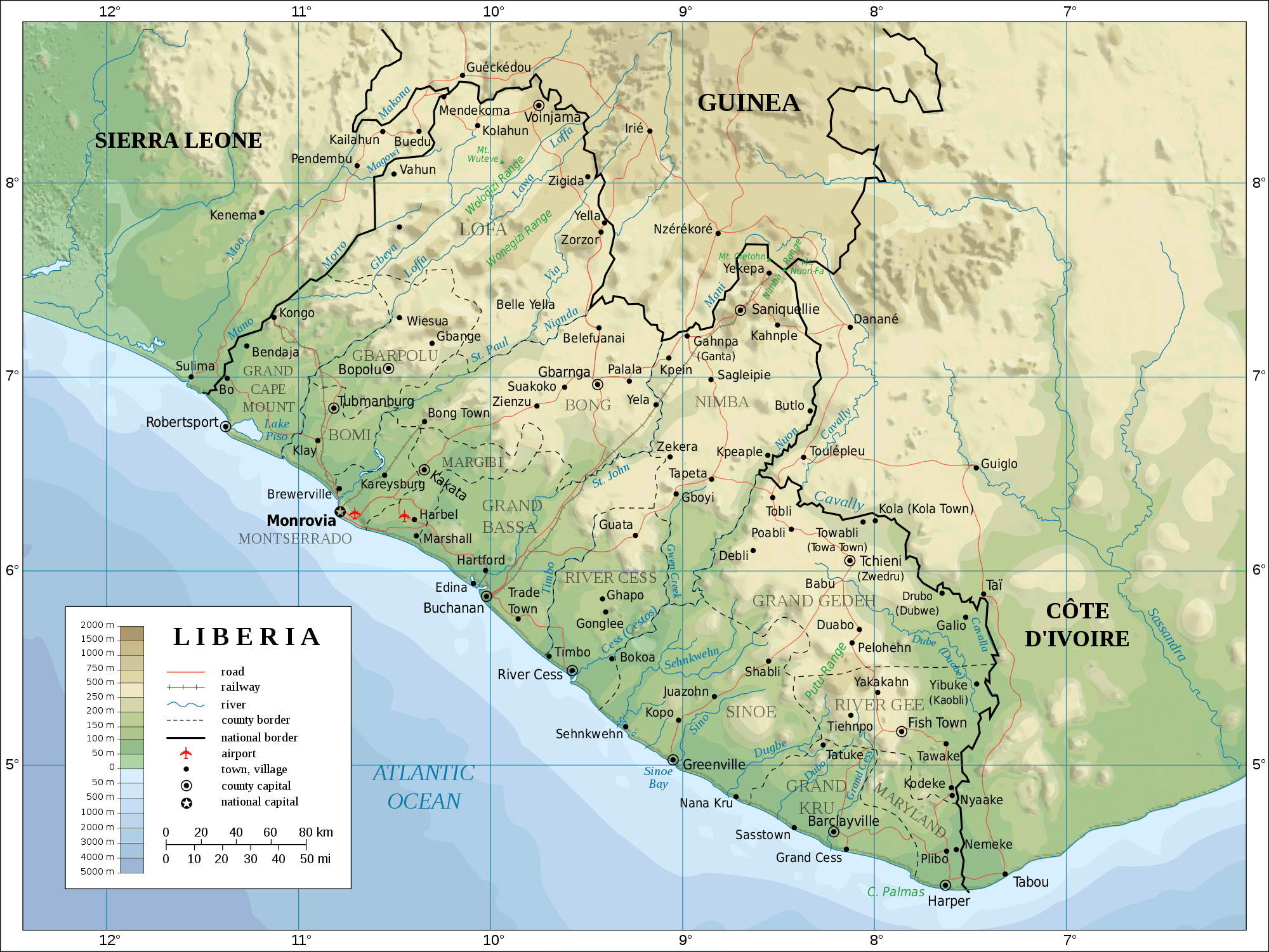Topographic Map of Liberia large map