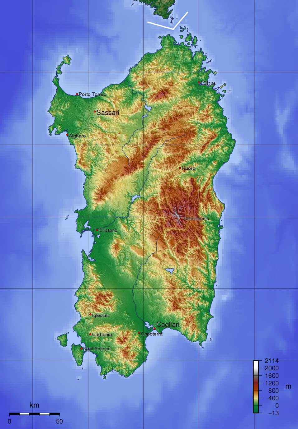 Topographic Map of Sardinia large map