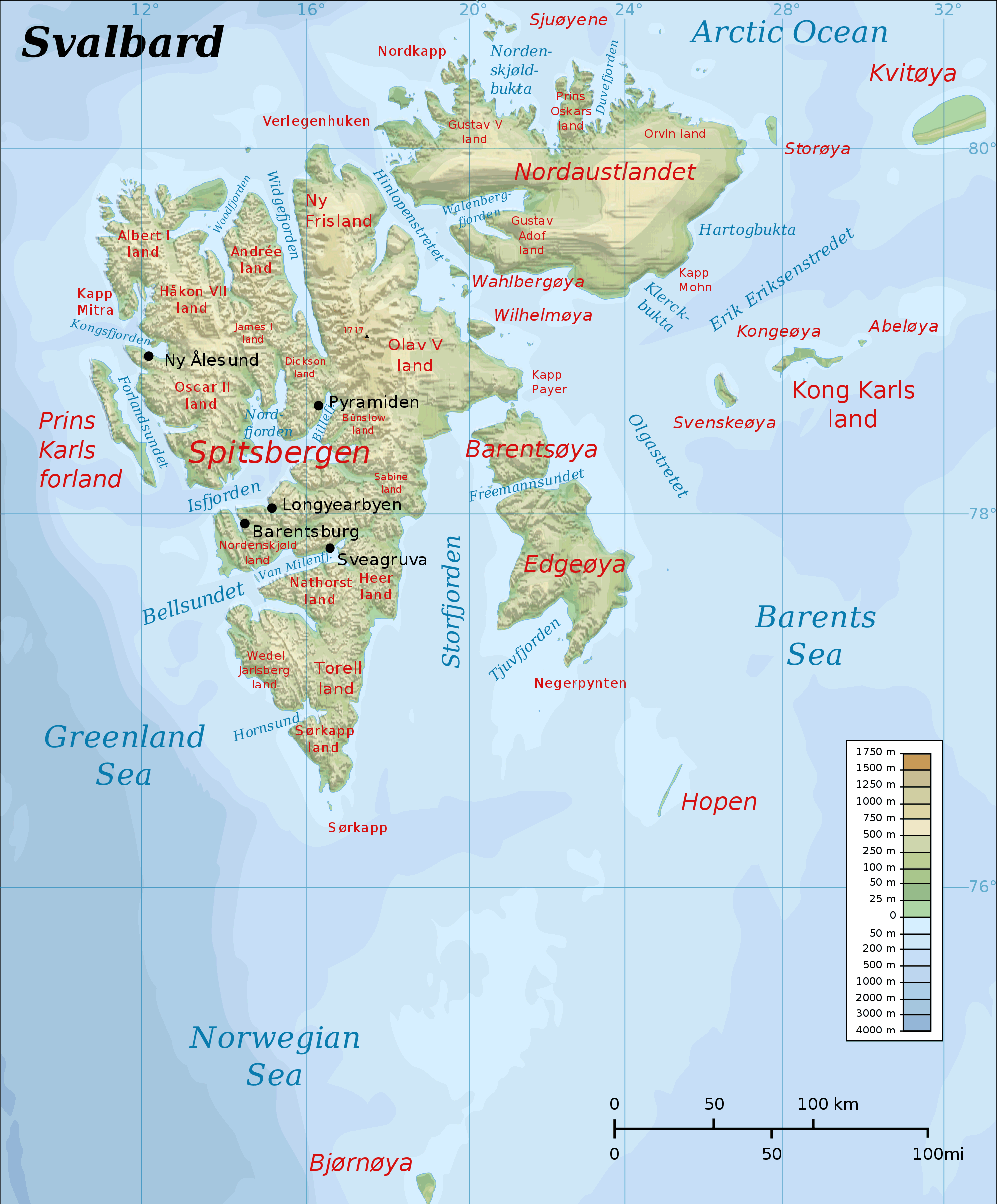 Topographic Map of Svalbard large map