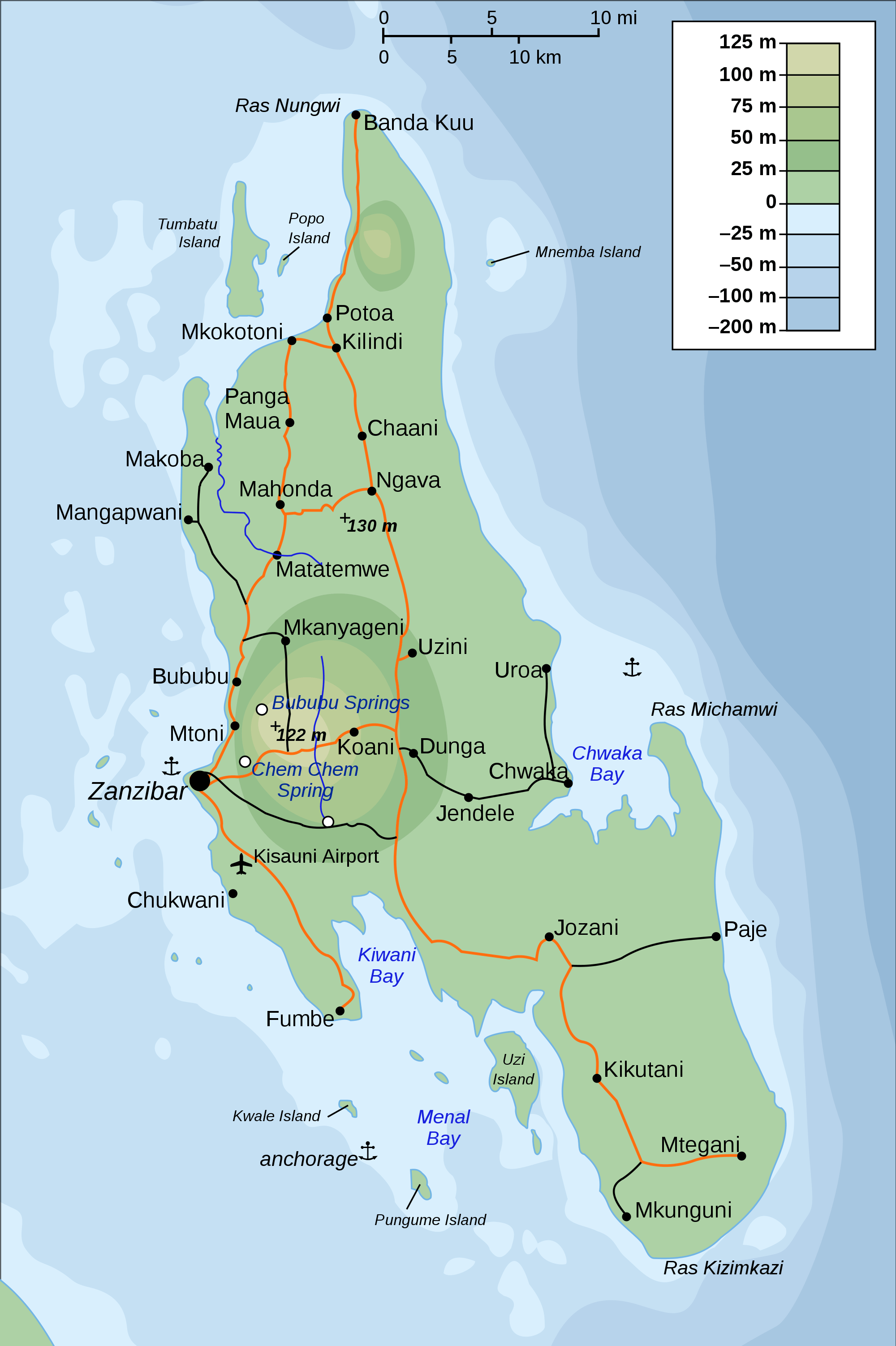 Topographic Map of Zanzibar large map