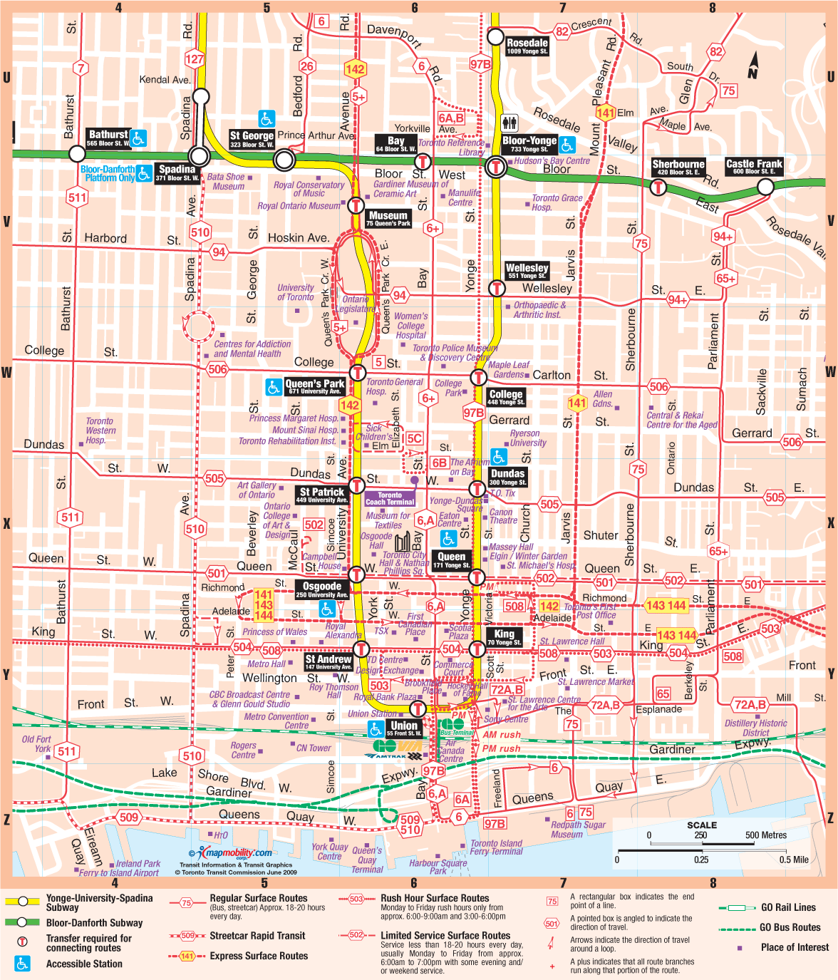 Maps Toronto.Toronto Downtown Subway Map Mapsof Net