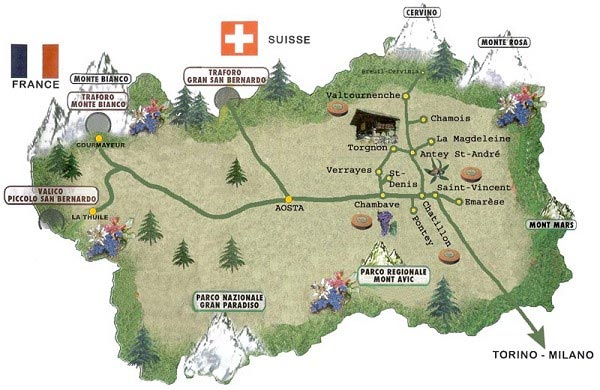 Tourism Map of Aosta Mapsofnet