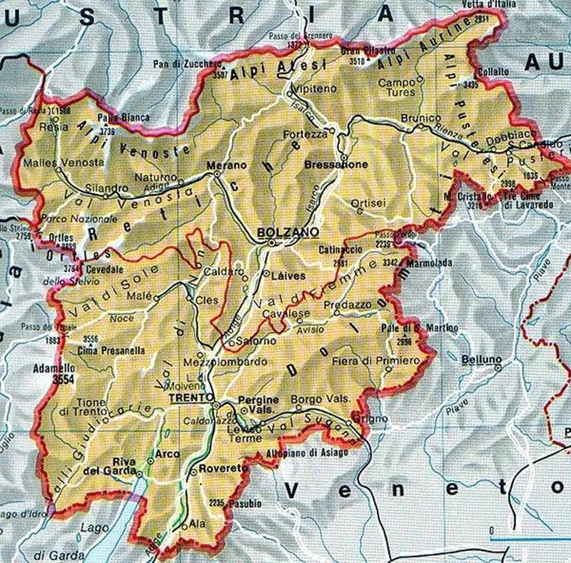 Trentino Alto Adige Political Map large map