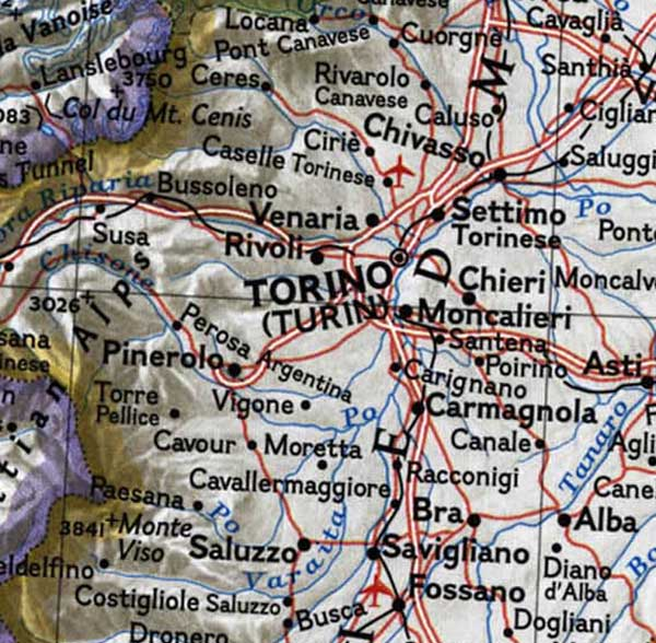 Turin Topographic Map large map