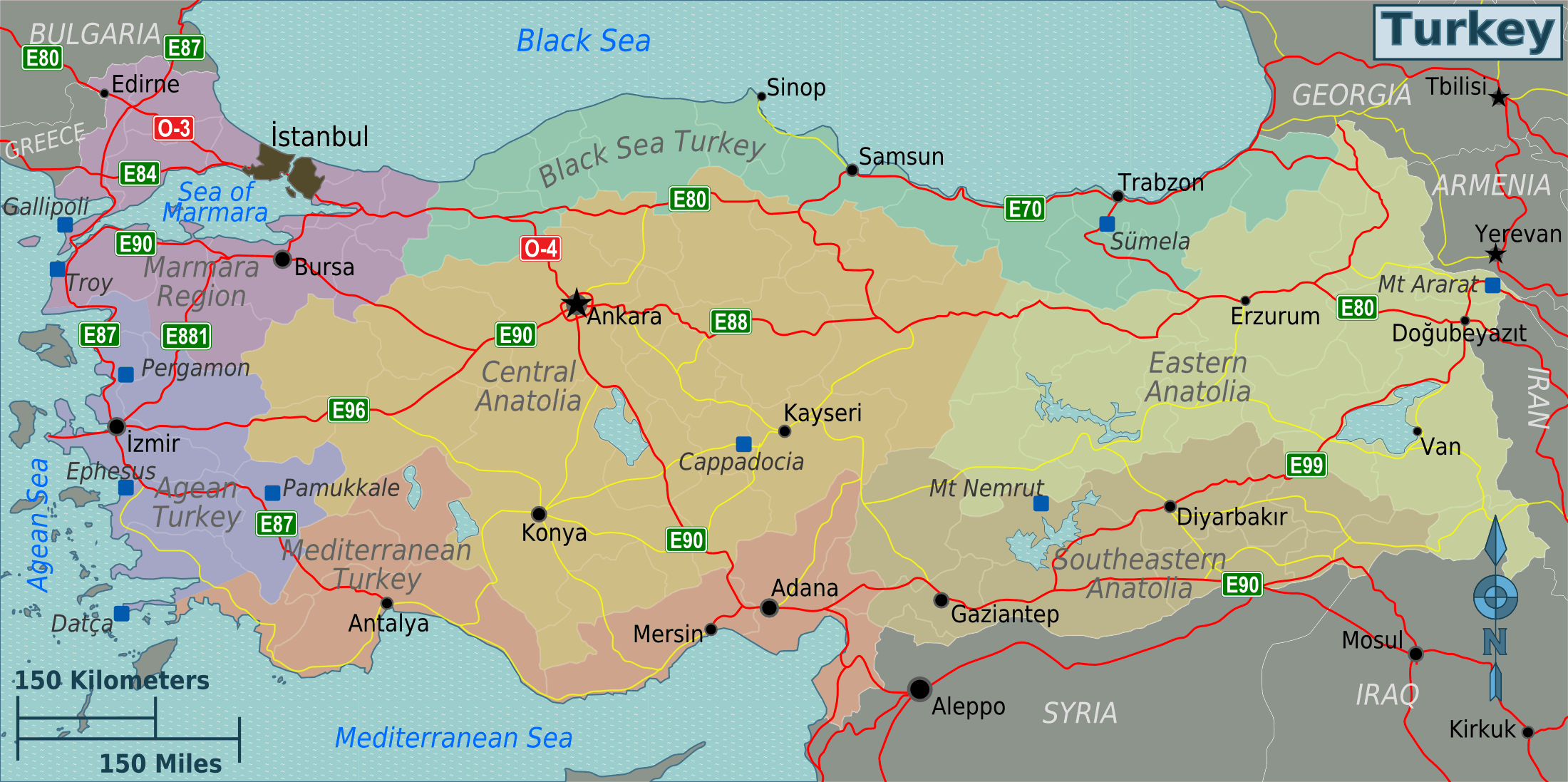 Turkey Regions Map large map
