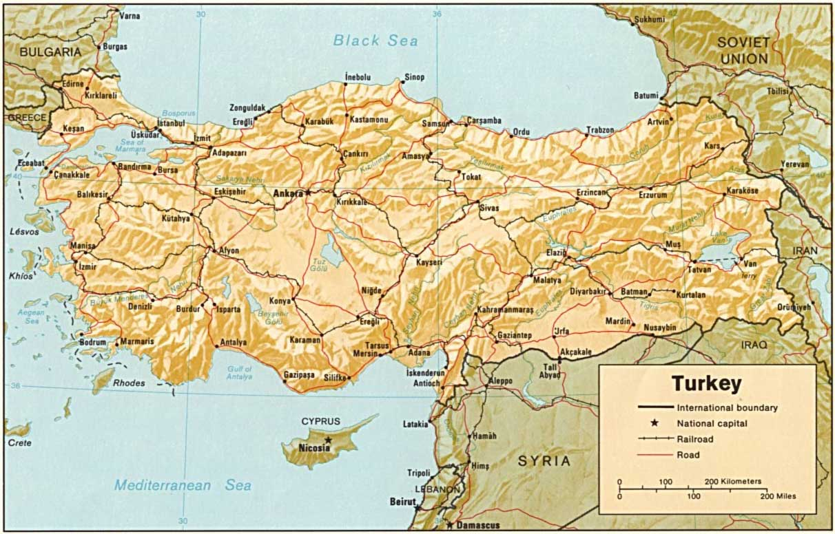 Turkey Relief Map large map