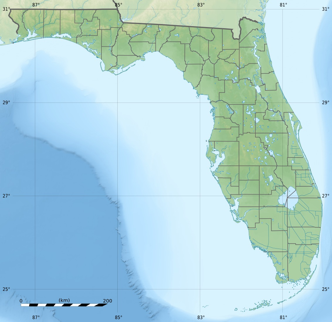 Usa Florida Relief Map large map