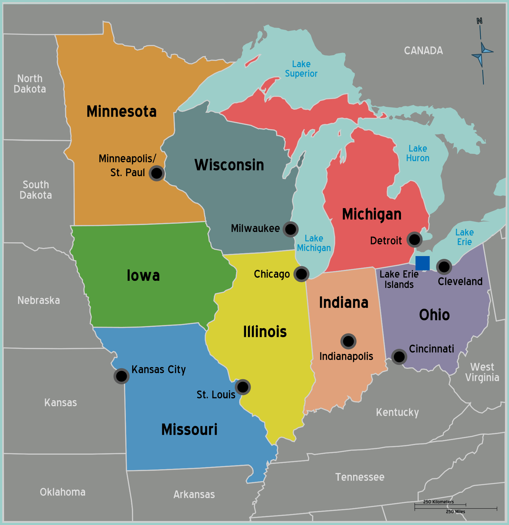 Usa Midwest Map large map