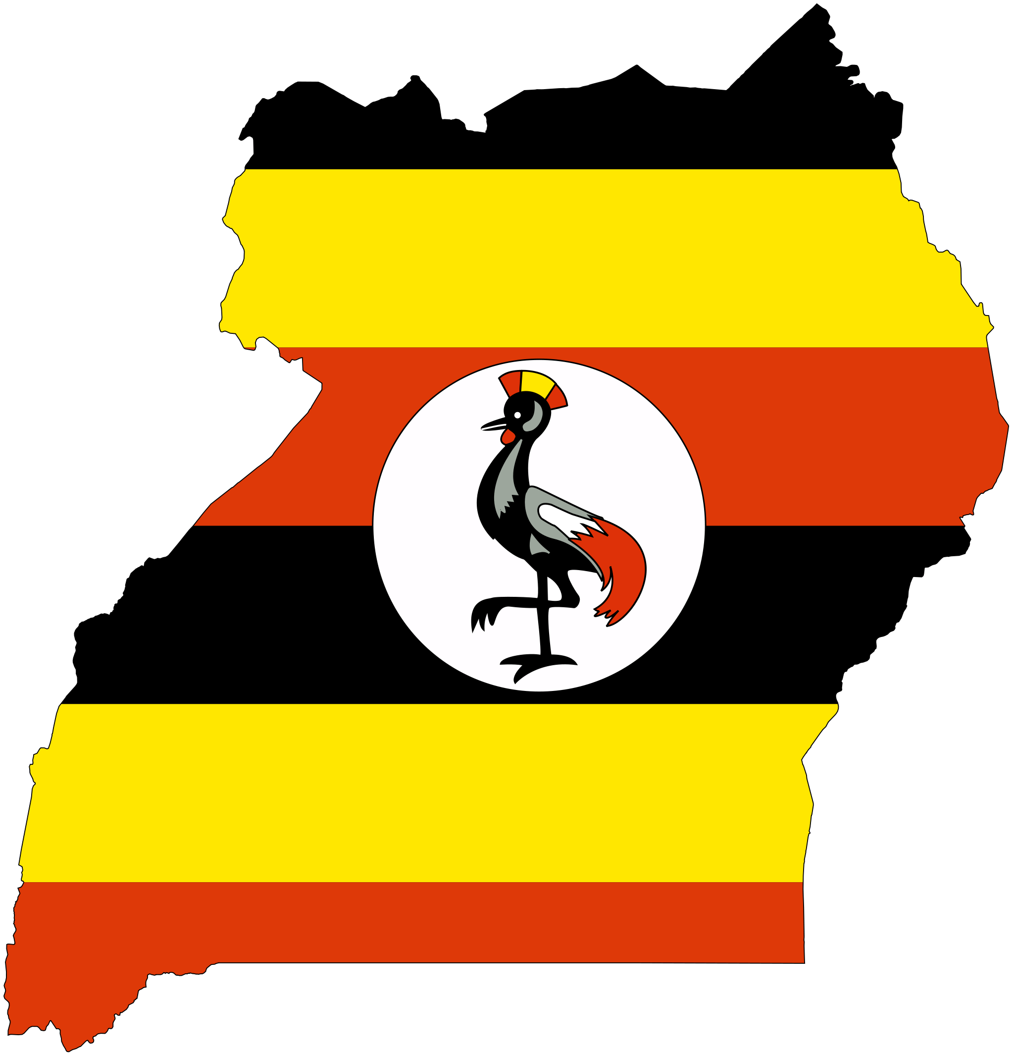 Uganda Flag Map large map