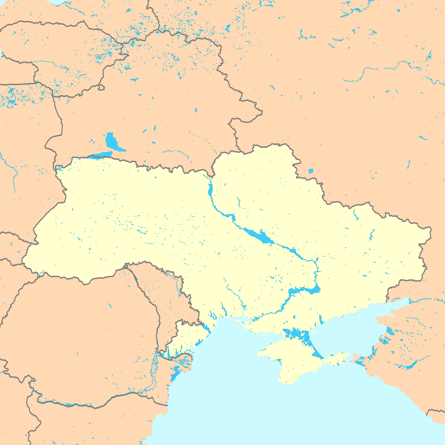 Ukraine Map Blank large map