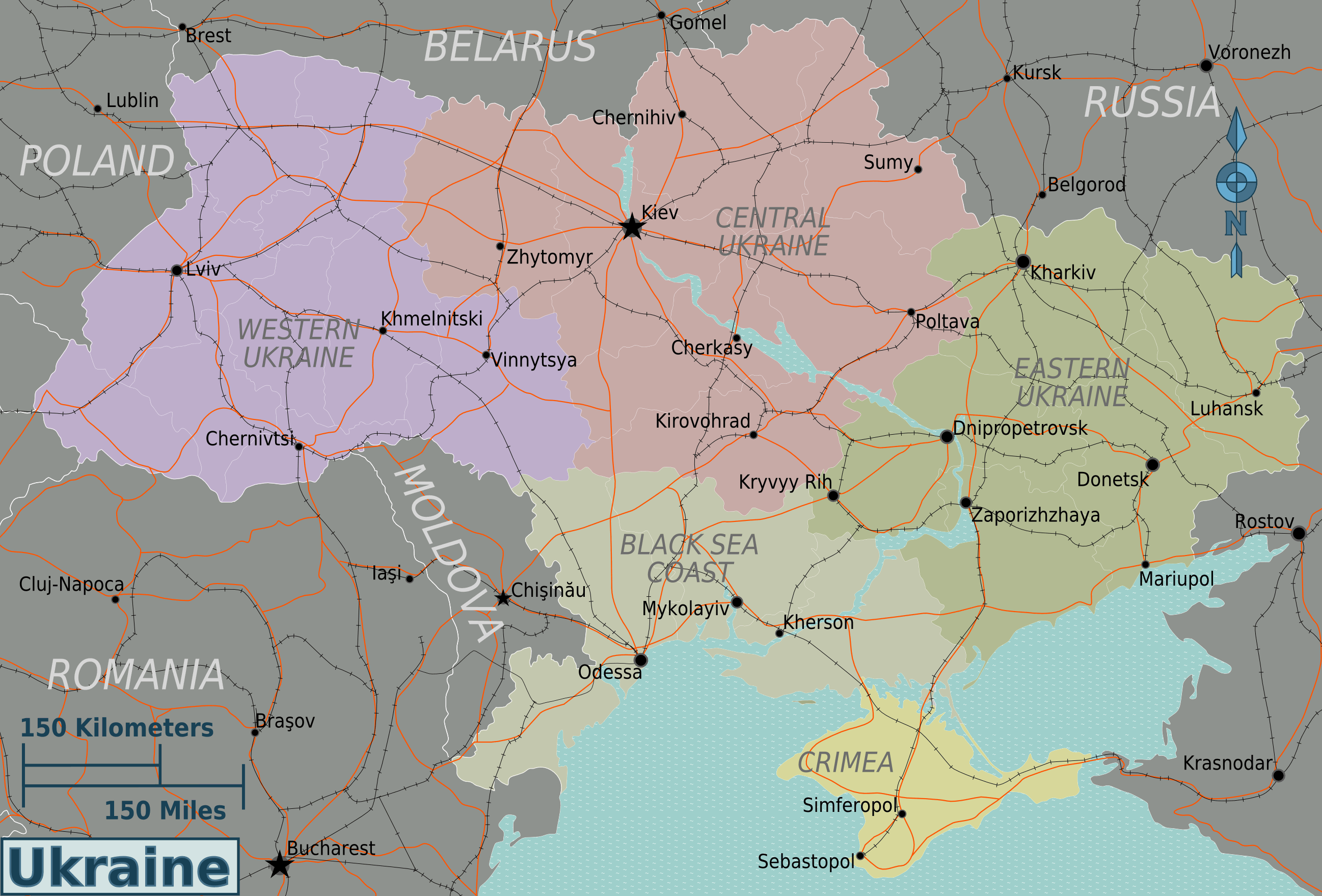 Ukraine Regions Map large map