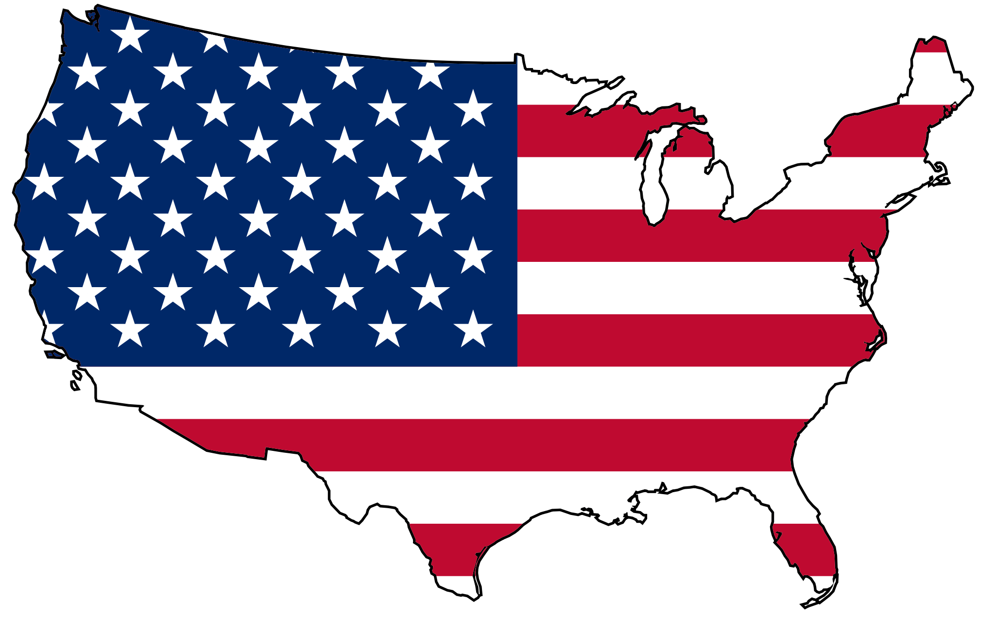 United States Flag Map large map