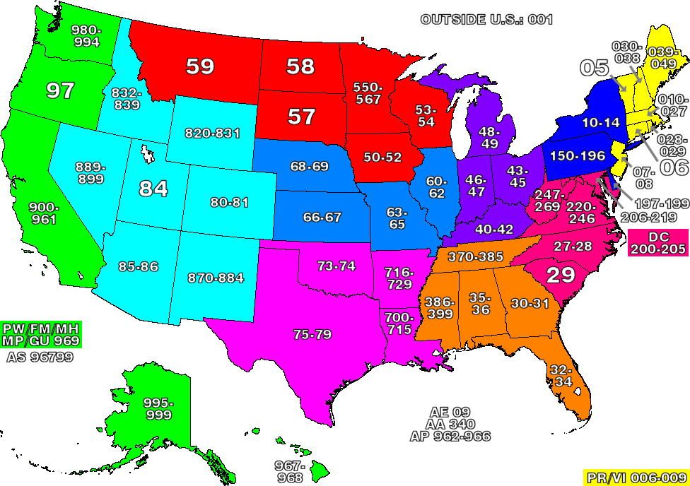 United States Zip Code Map • Mapsof