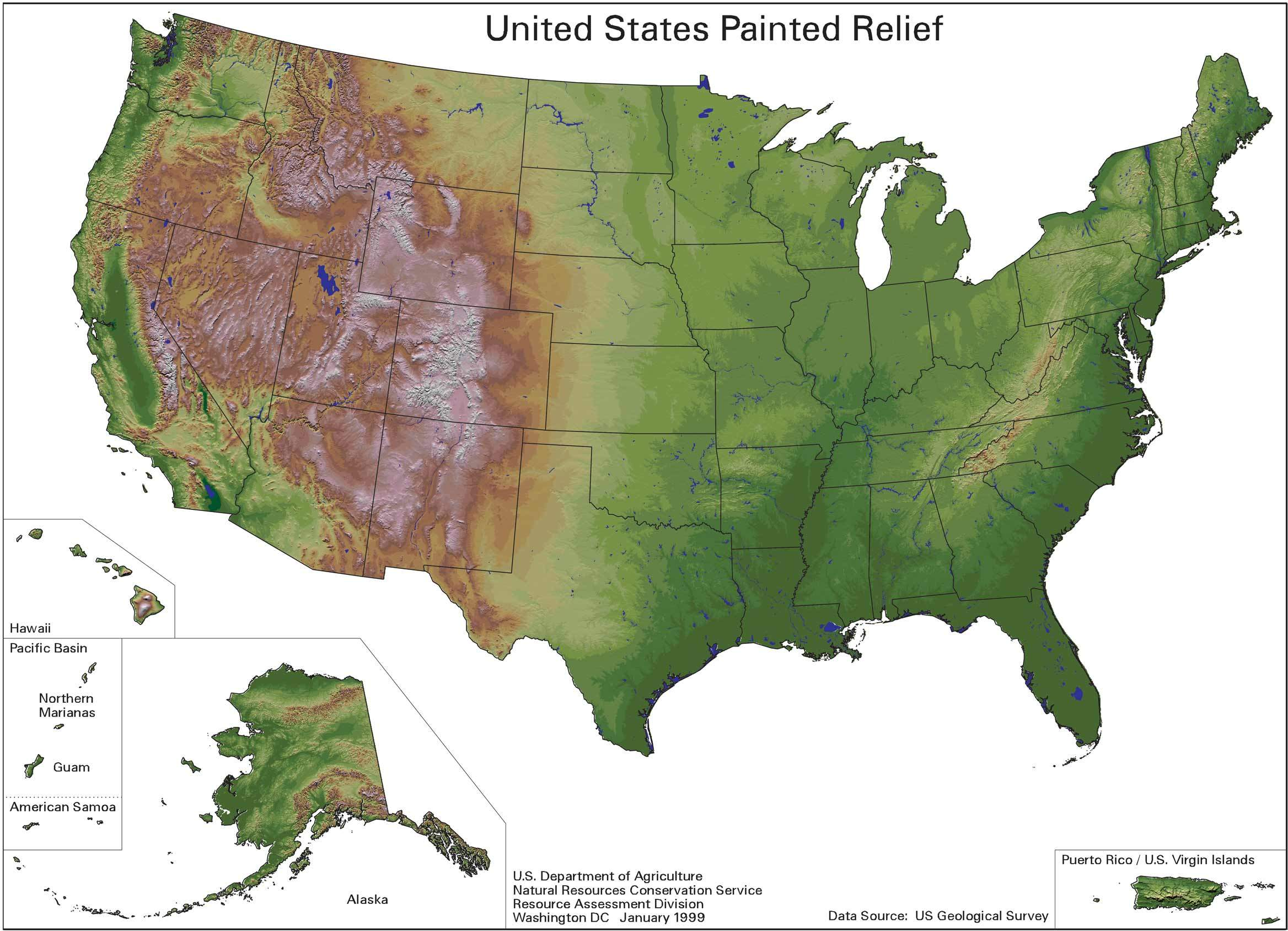 Us Painted Relief large map