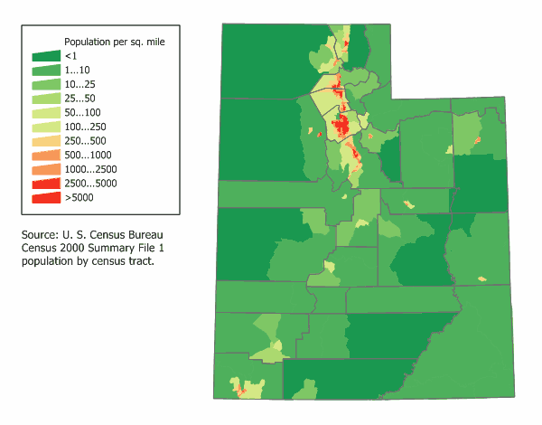 Utah Population Map Mapsofnet - Us map utah