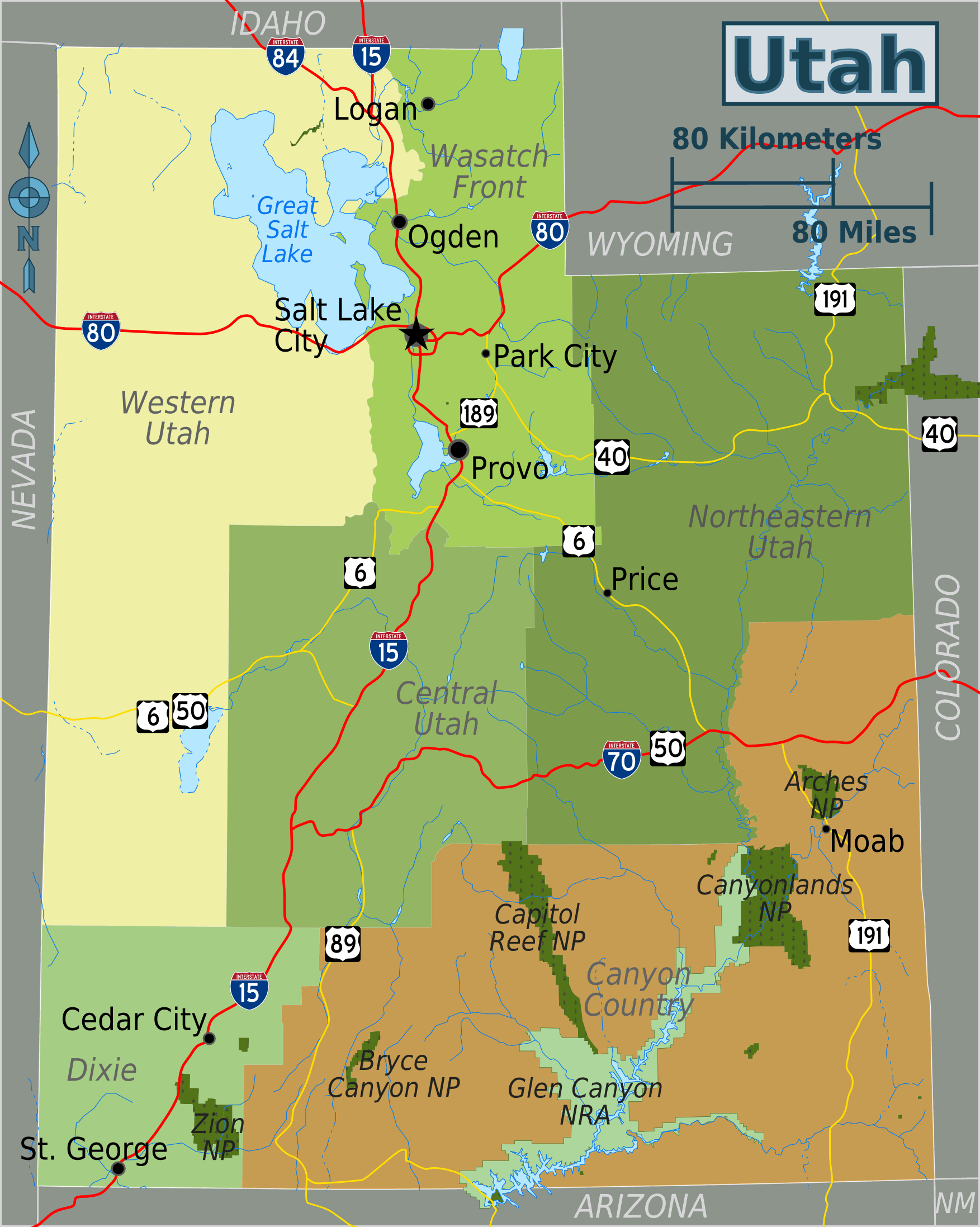 Utah Regions Map • Mapsof.net