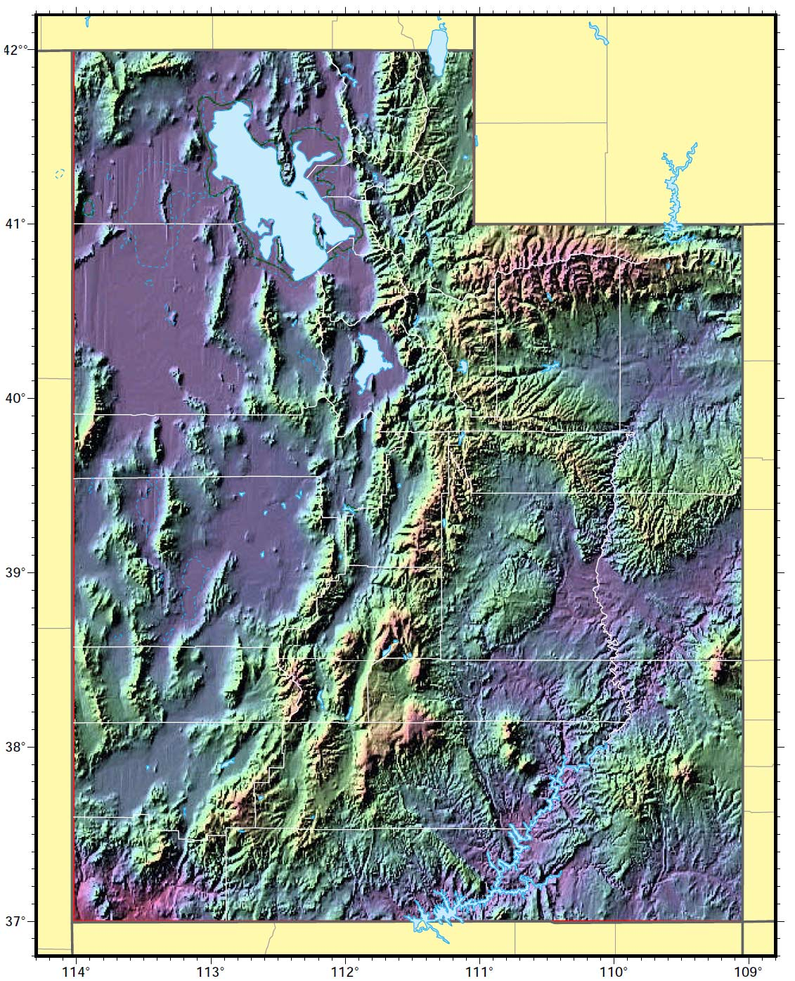 Utah Relief Map large map