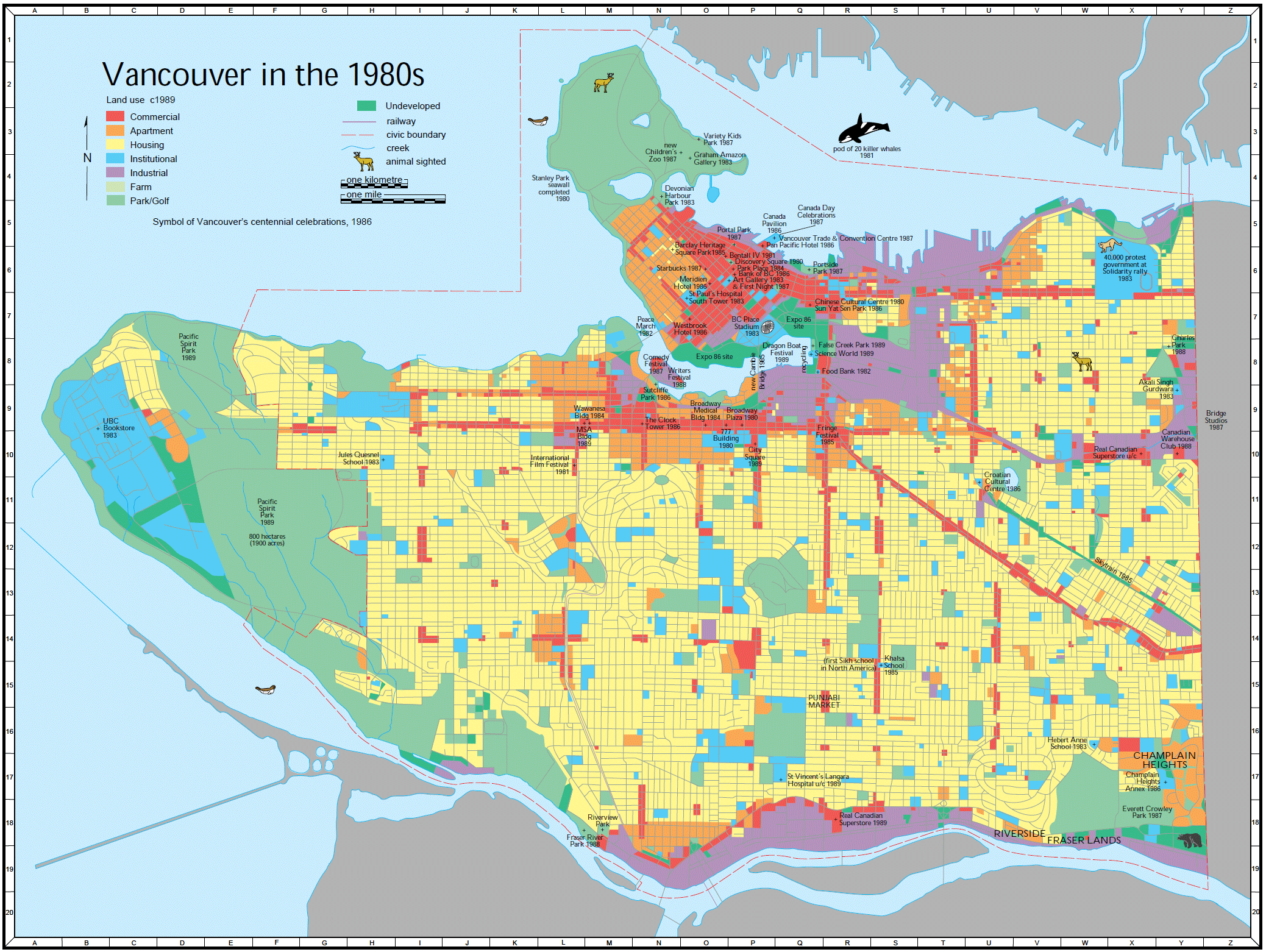 Vancouver Old Map (1980) large map