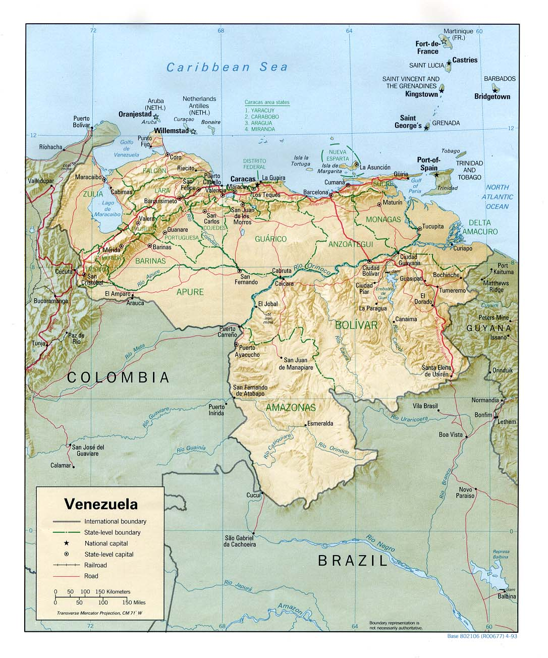 Venezuela Shaded Relief Map large map