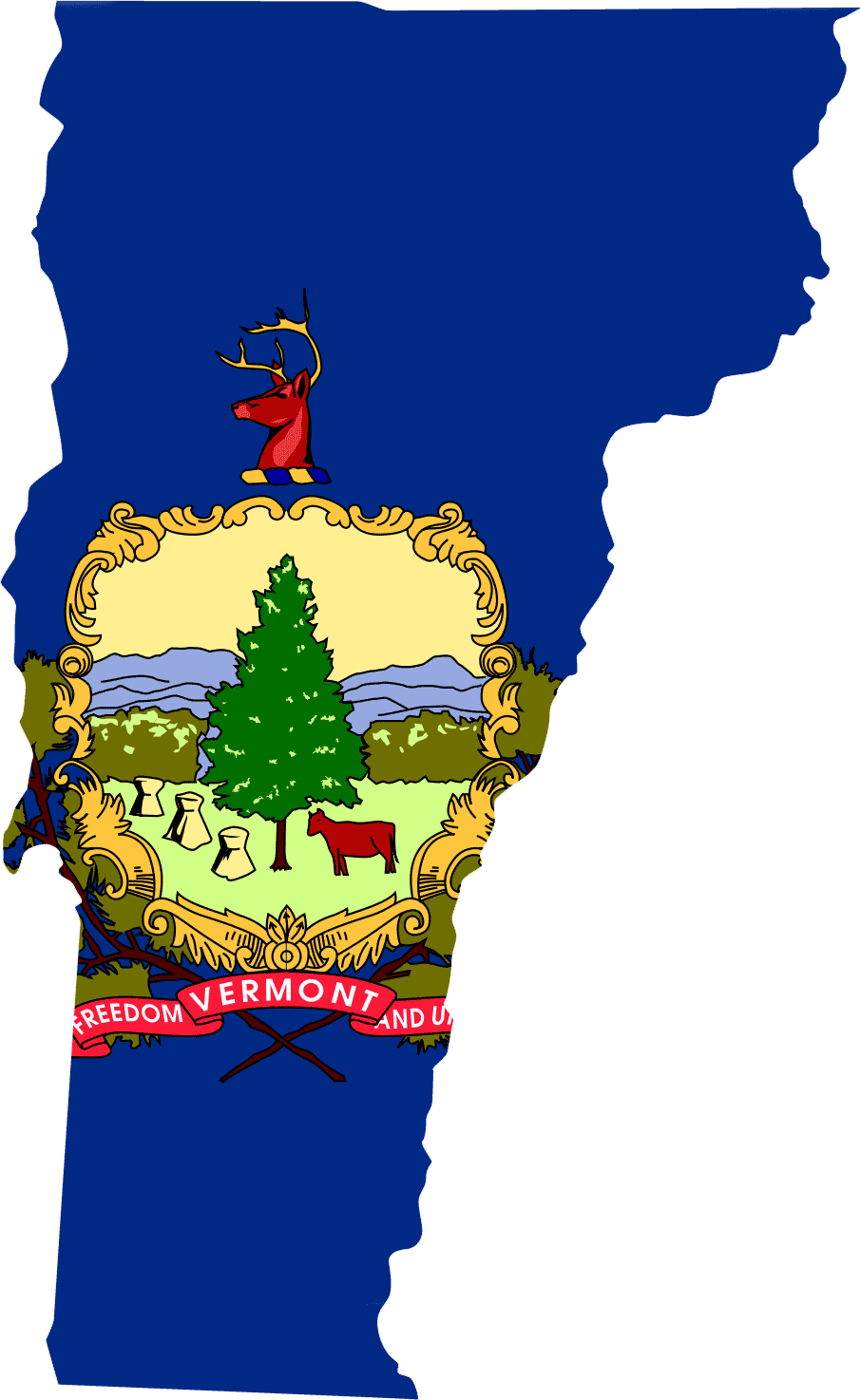 Vermont Flag Map large map