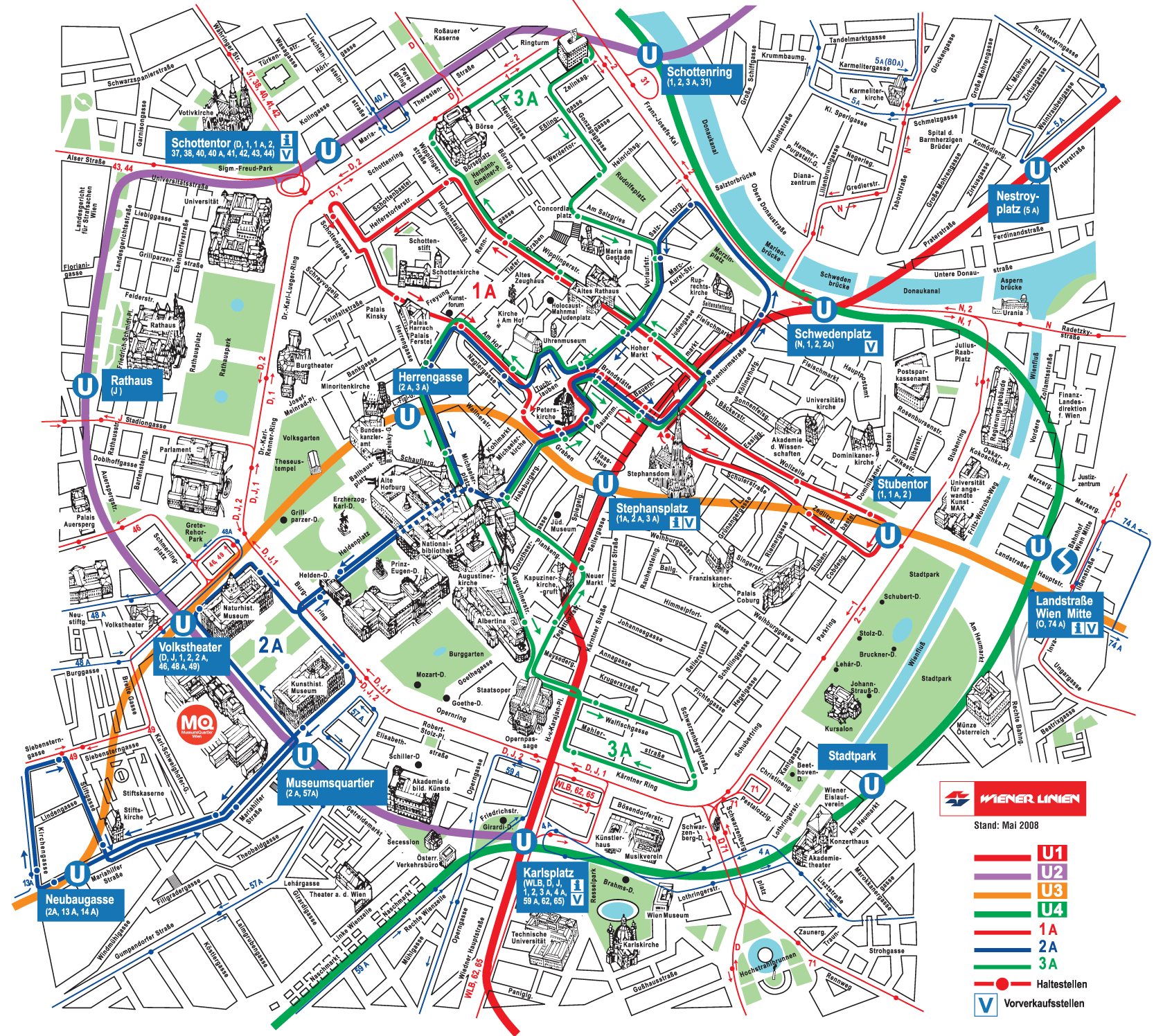 Vienna Metro Map tourist Mapsofnet – Vienna Tourist Map Printable