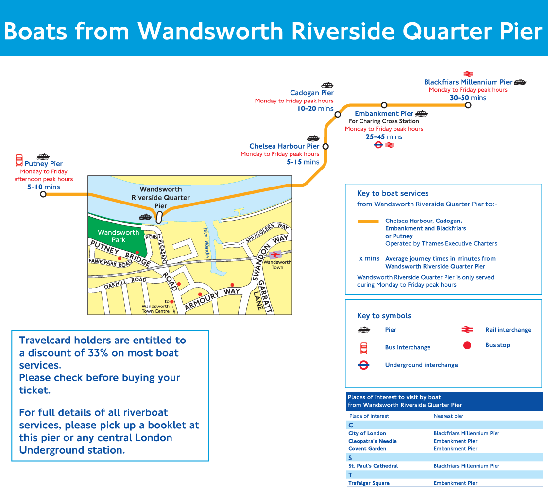 Wandsworth Pier Route Map large map