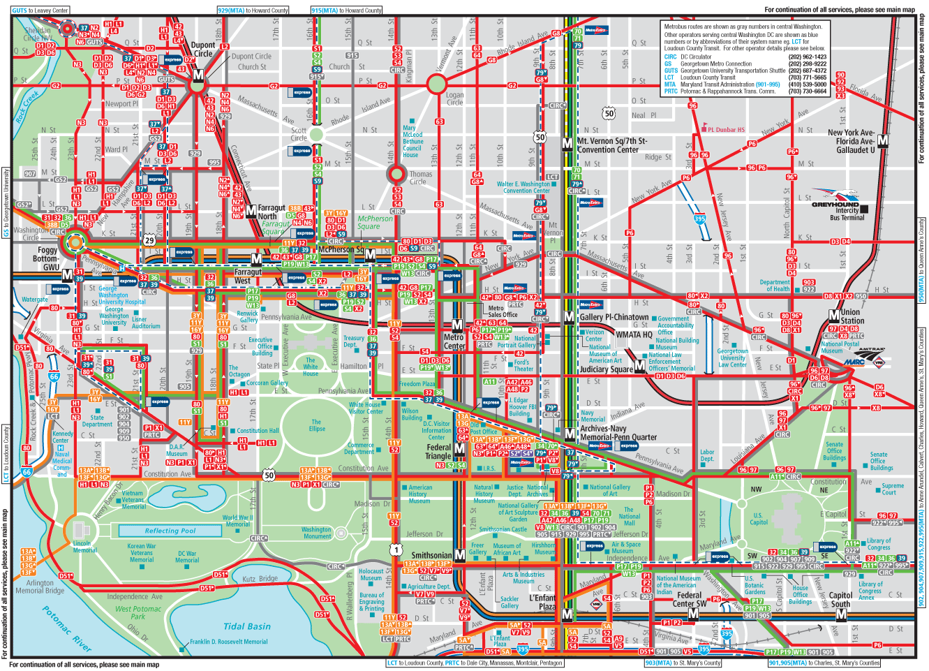 Washington Dc Downtown Metrobus Map city Center Mapsofnet