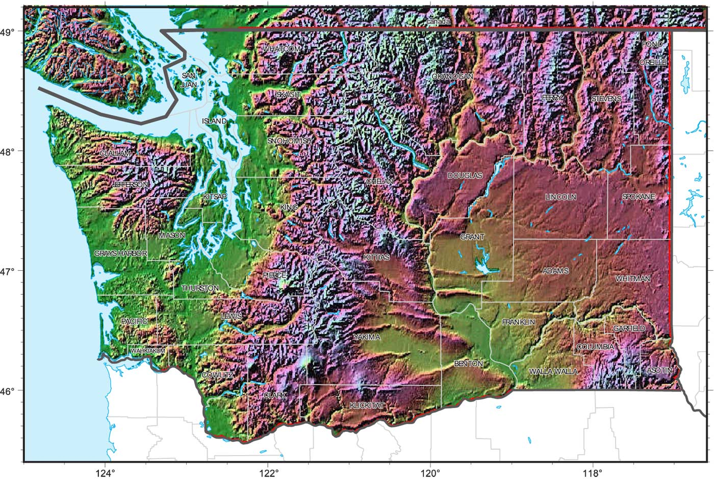 Washington Relief Map