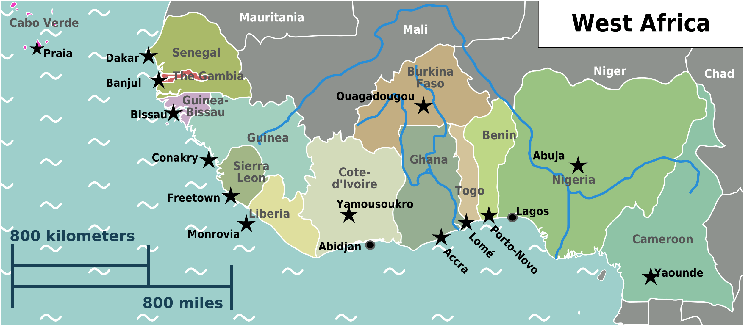 West Africa Regions Map Mapsofnet