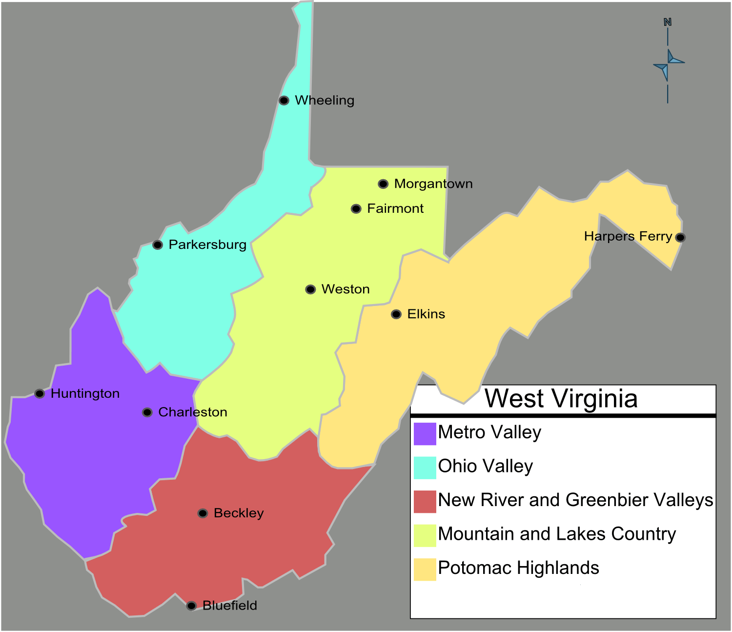 West Virginia Regions Map Mapsofnet